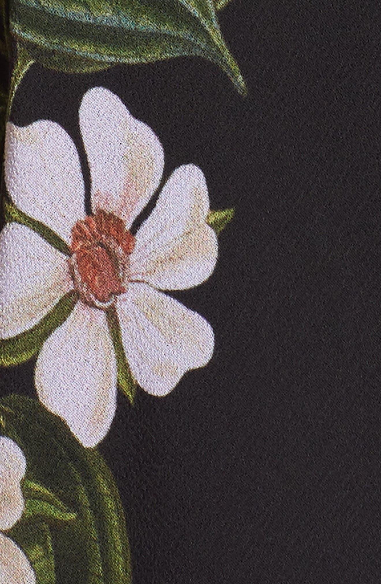 Floral Print Wrap Dress,                             Alternate thumbnail 6, color,                             Dark Floral Print