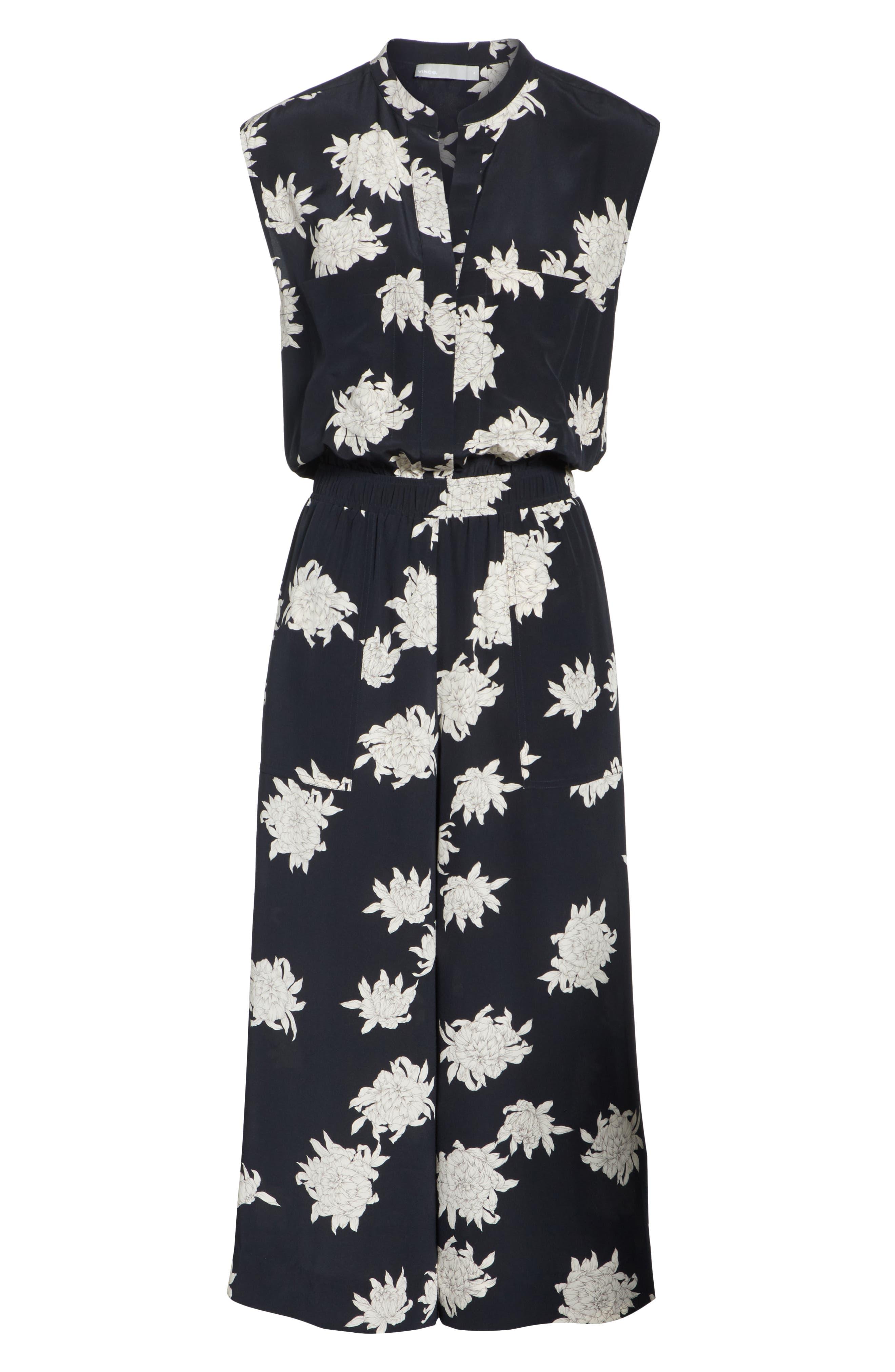 Chrysanthemum Print Silk Jumpsuit,                             Alternate thumbnail 6, color,                             Coastal