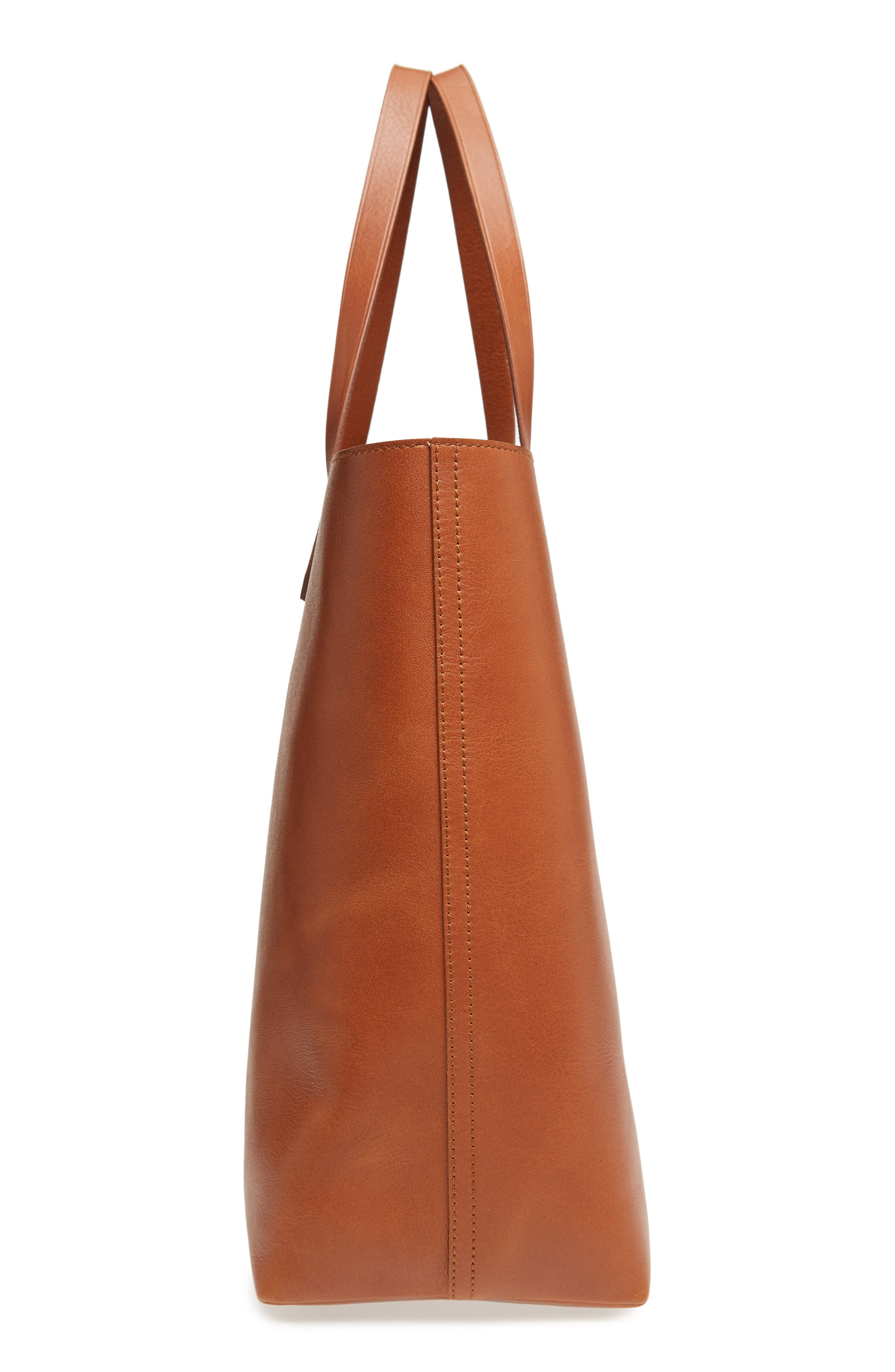 Zip Top Transport Leather Tote,                             Alternate thumbnail 5, color,                             English Saddle