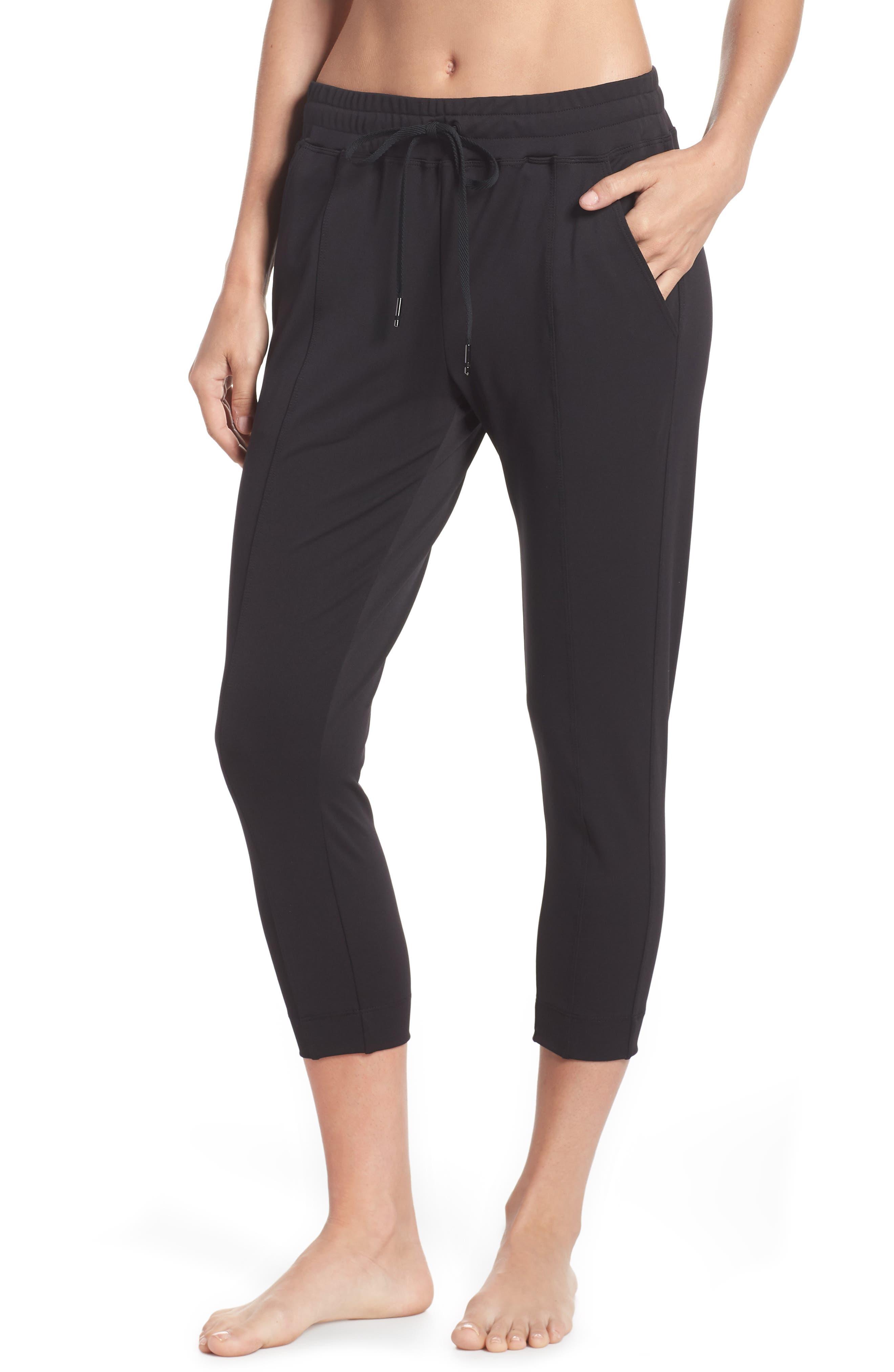 Mica Crop Track Pants,                             Main thumbnail 1, color,                             Black