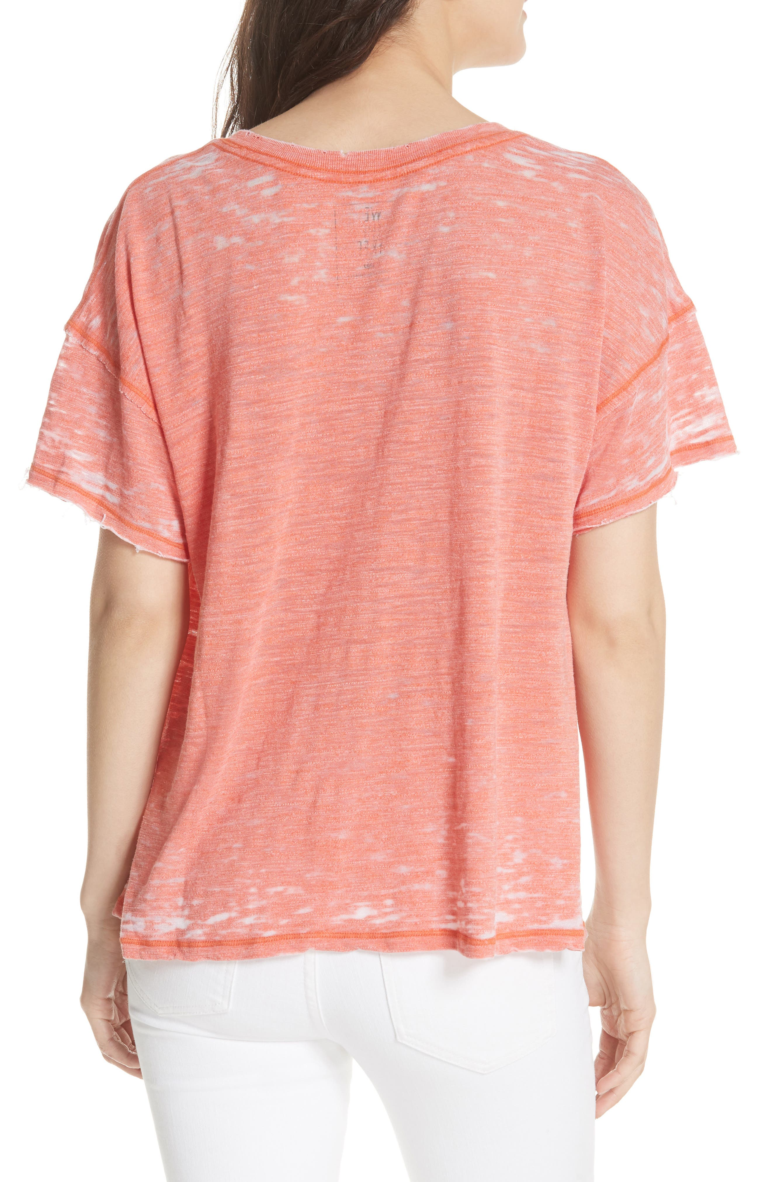 Maddie Burnout Tee,                             Alternate thumbnail 2, color,                             Coral