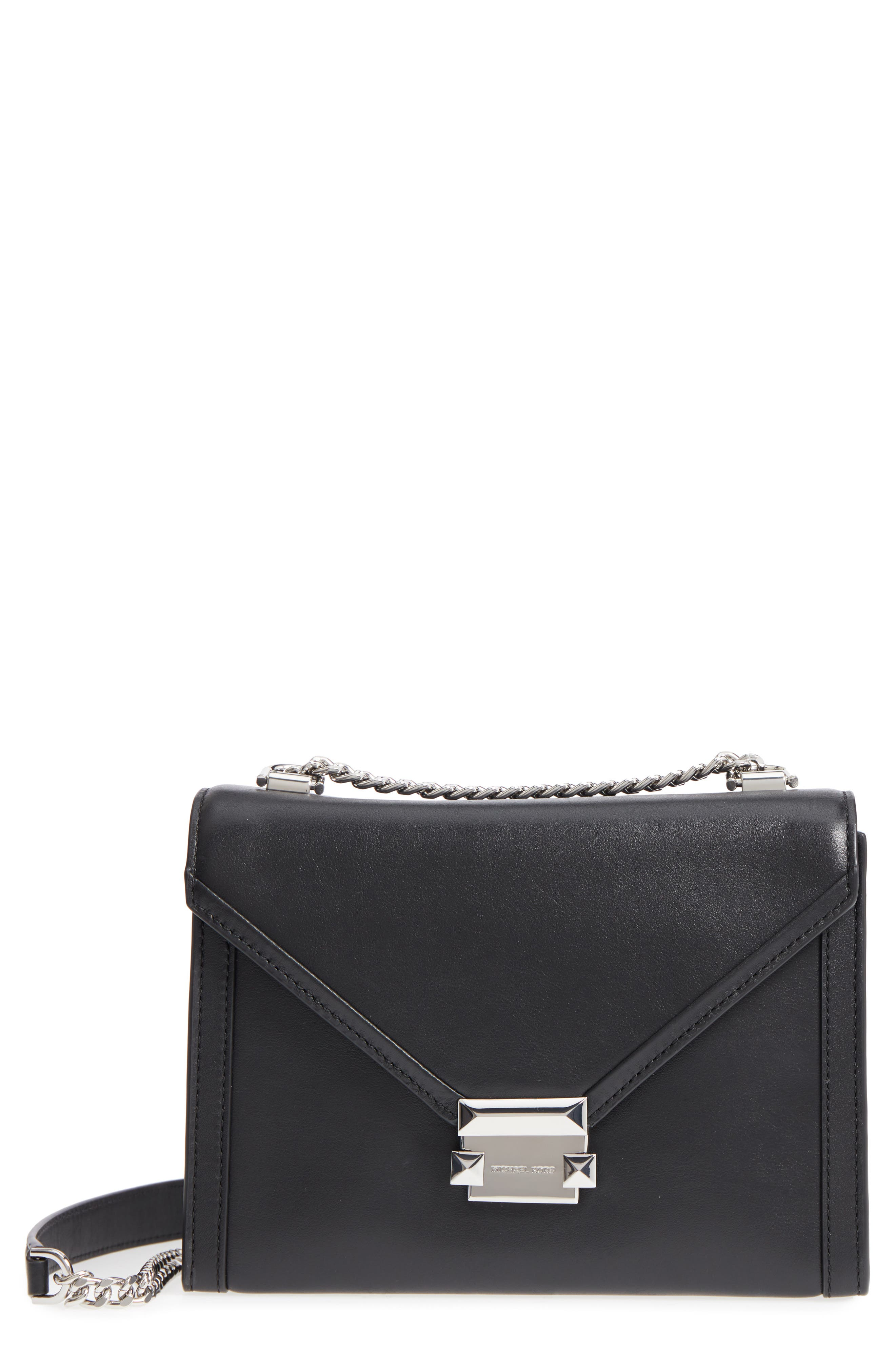 Large Whitney Leather Shoulder Bag,                             Main thumbnail 1, color,                             Black