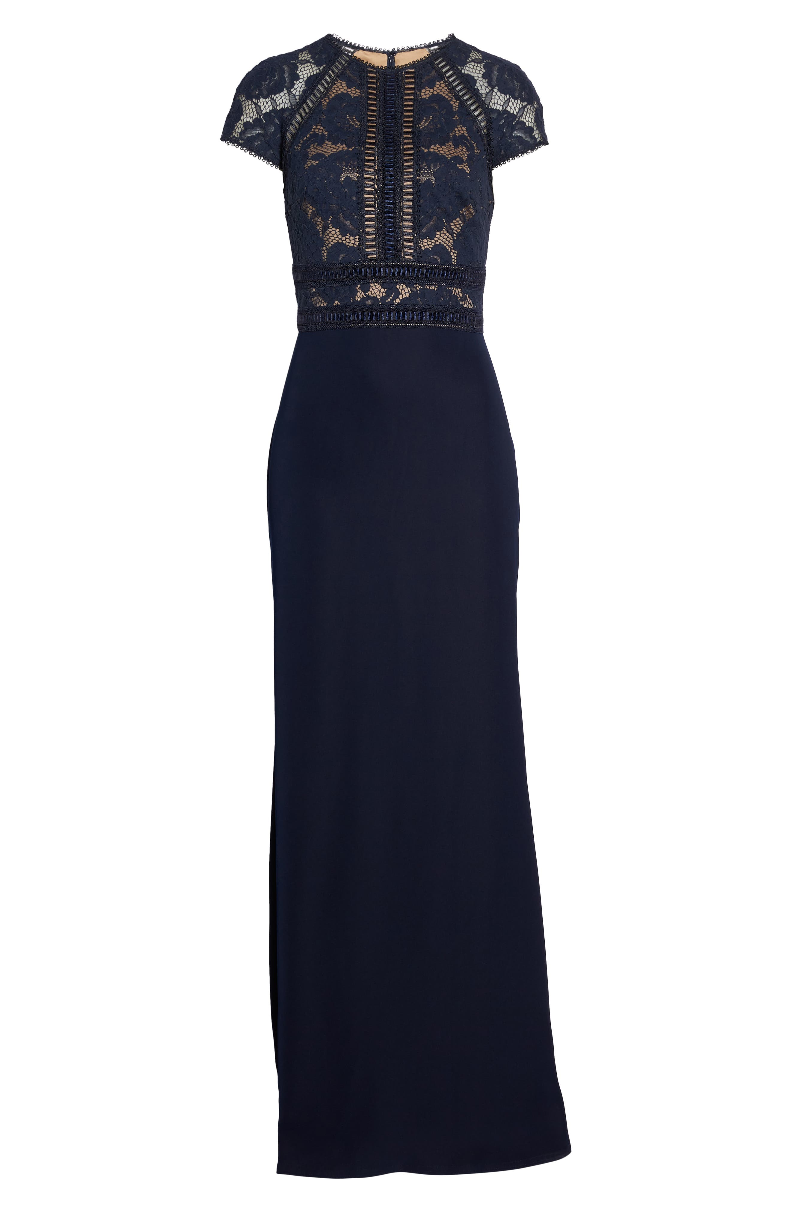 Lace & Crepe A-Line Gown,                             Alternate thumbnail 6, color,                             Navy/ Nude