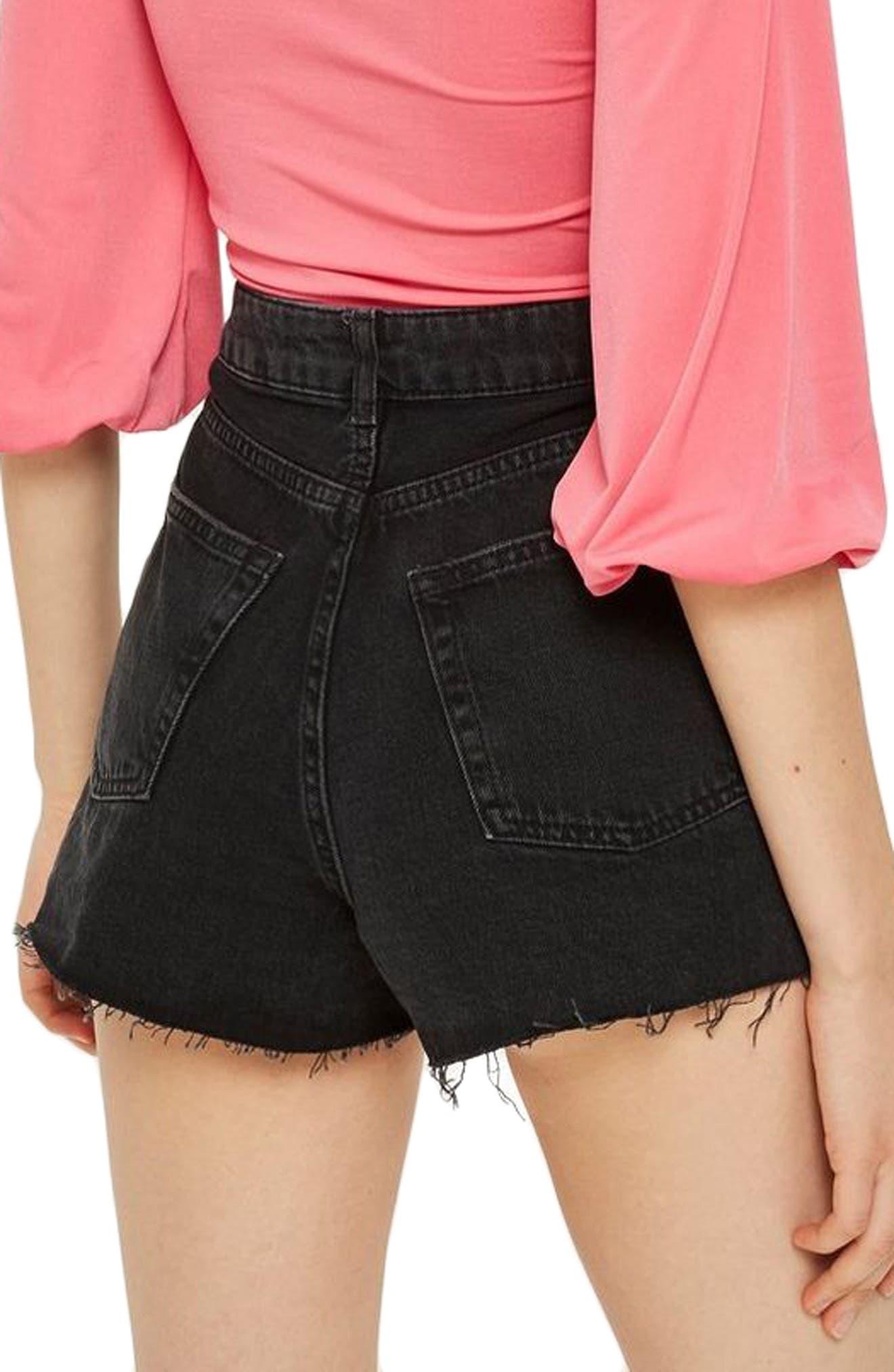 Ripped Denim Mom Shorts,                             Alternate thumbnail 2, color,                             Washed Black