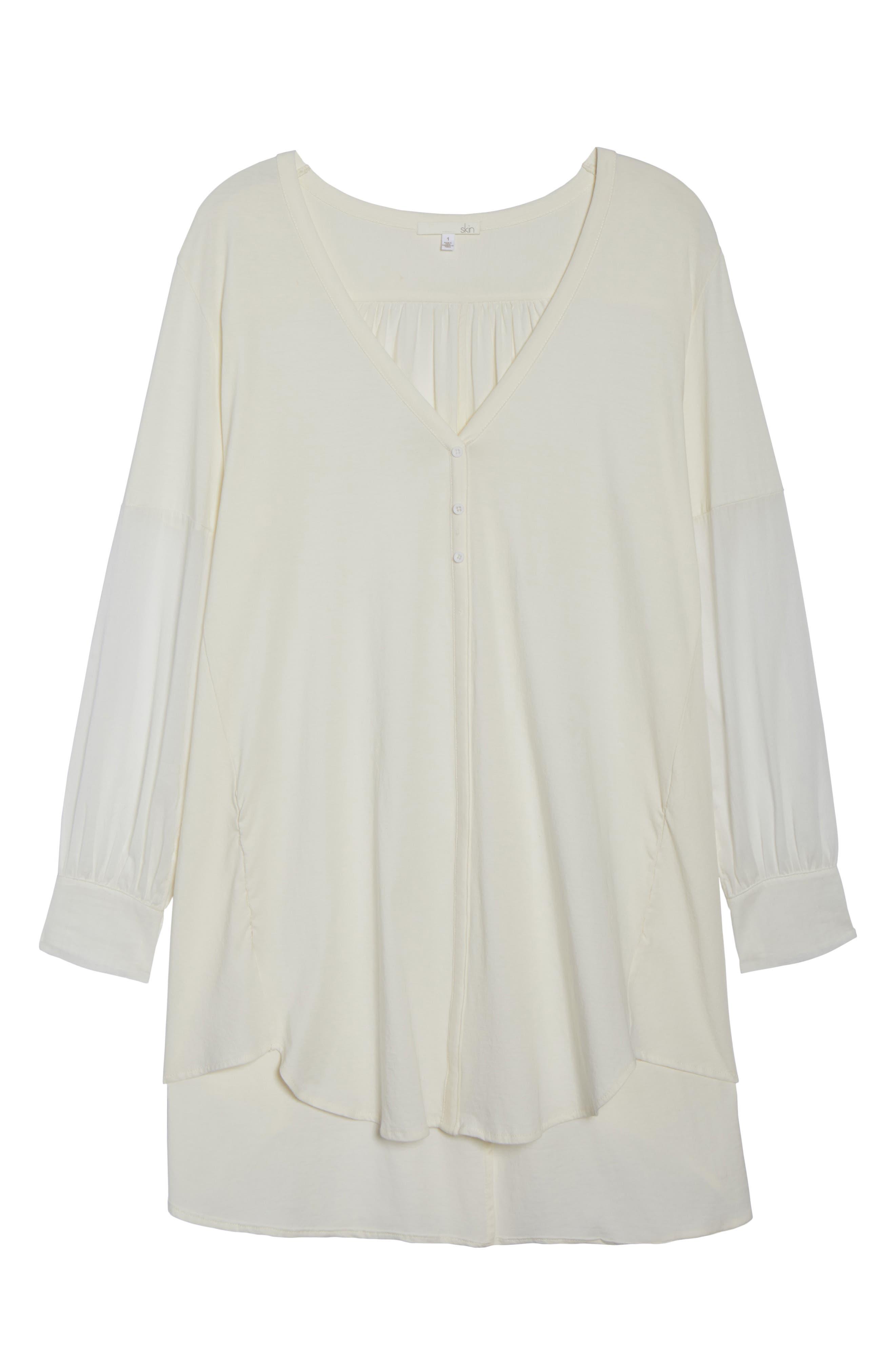 Blanche Pima Cotton Voile Sleep Shirt,                             Alternate thumbnail 6, color,                             Gardenia