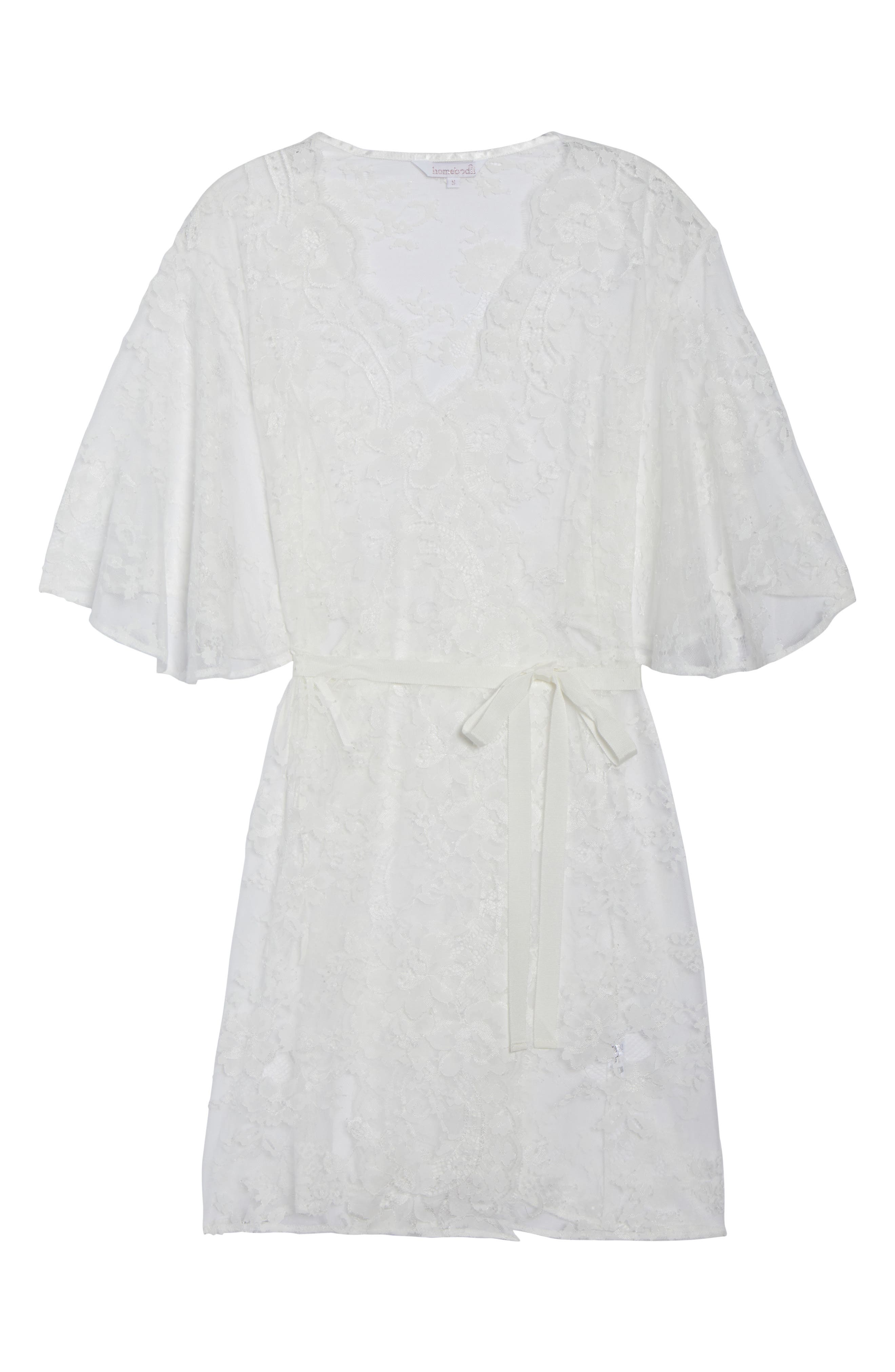 Kassiah Short Lace Wrap,                             Alternate thumbnail 4, color,                             White