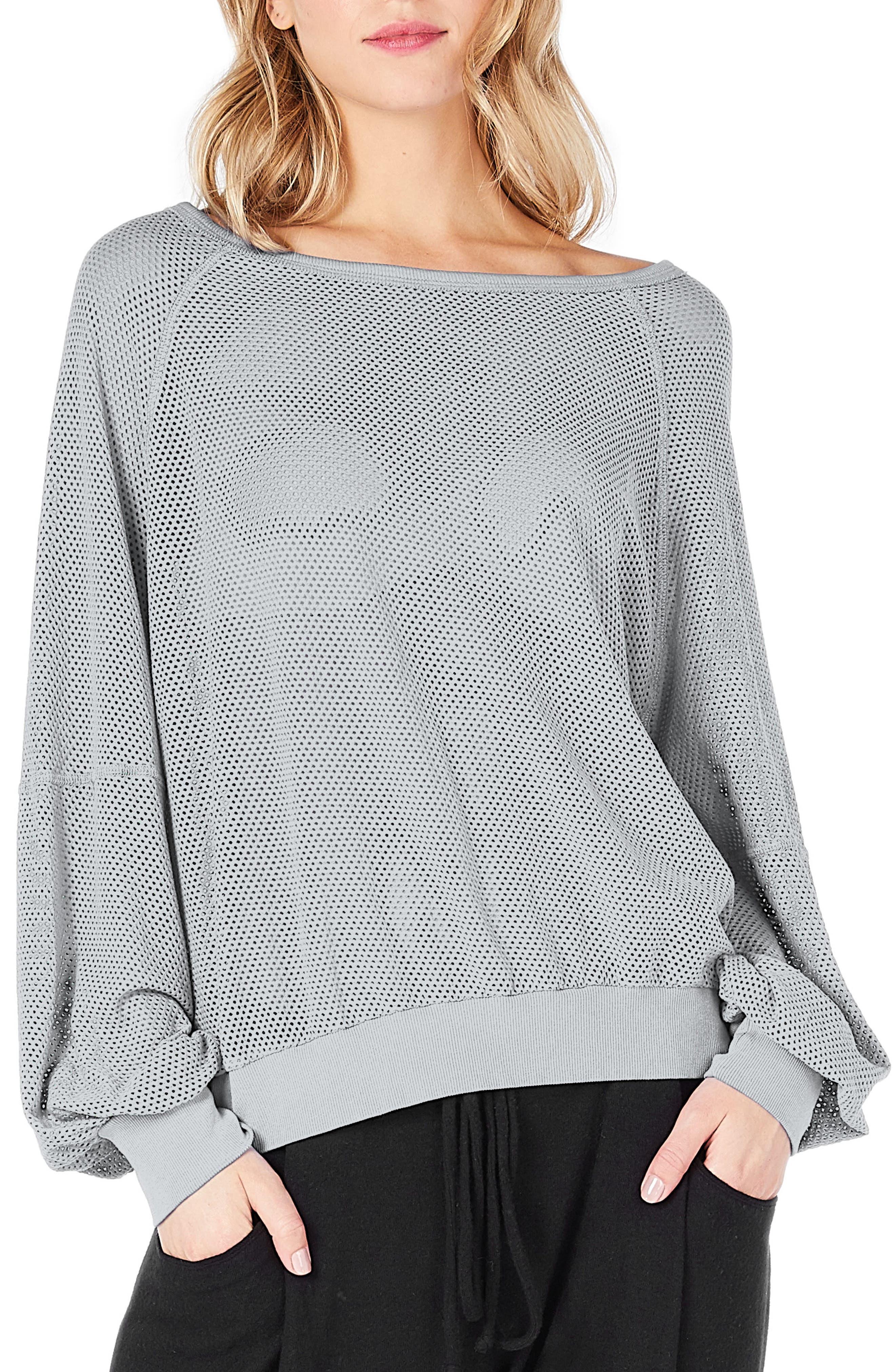 Open Stitch Sweatshirt,                             Main thumbnail 1, color,                             Iron