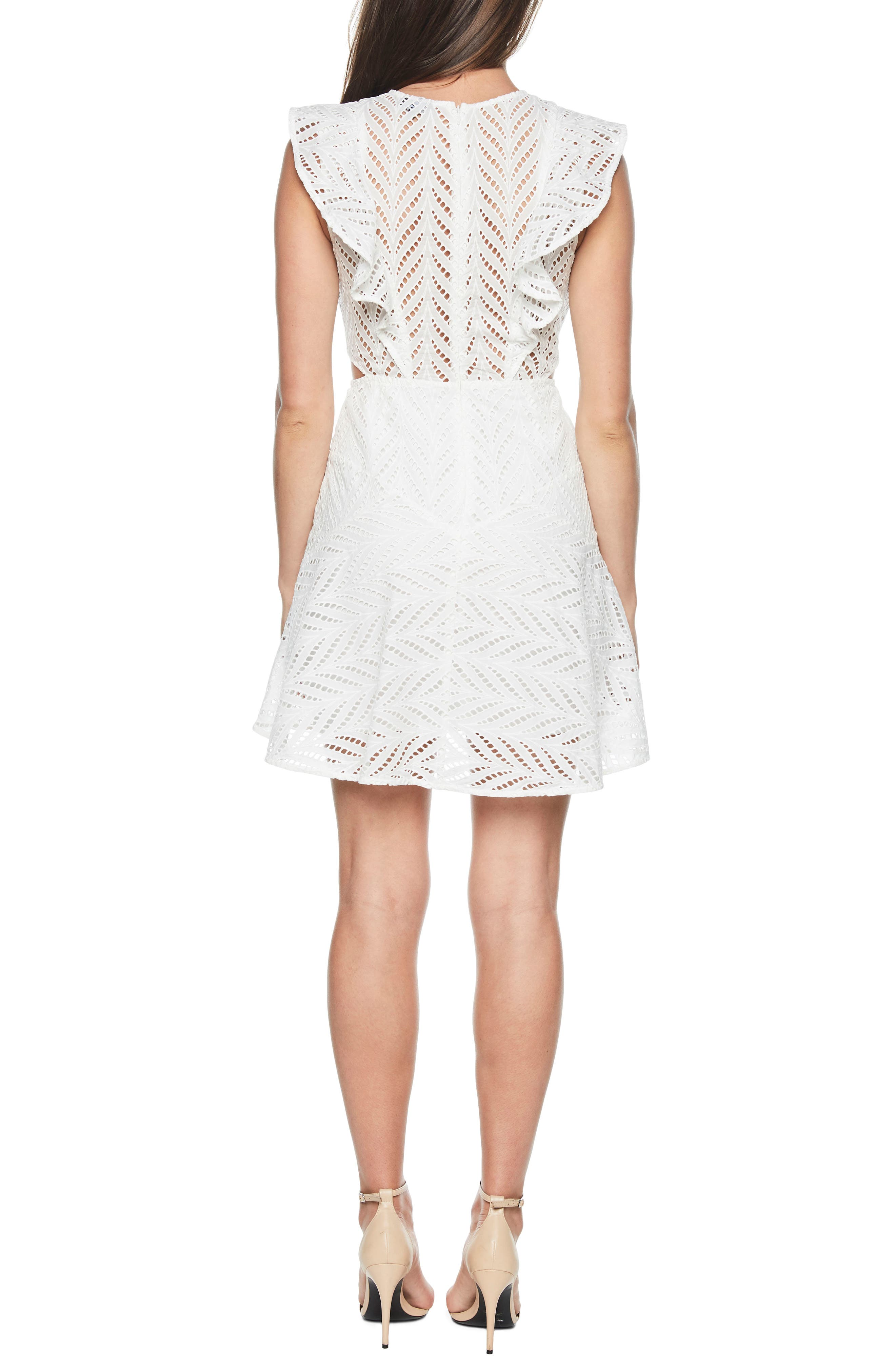 Kira Crochet Ruffle Dress,                             Alternate thumbnail 2, color,                             Ivory