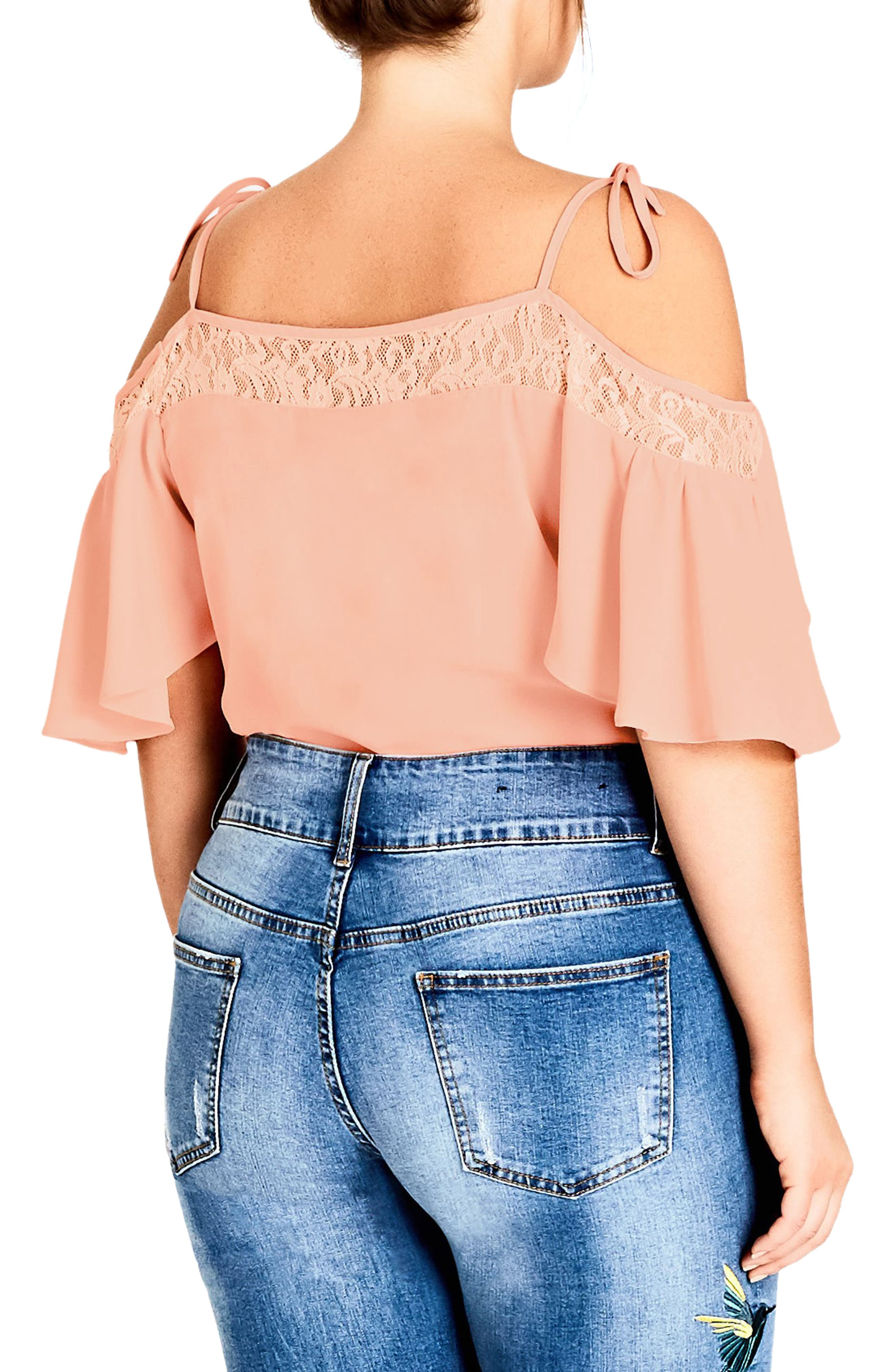 Lace Trim Off-Shoulder Top,                             Alternate thumbnail 2, color,                             Mango