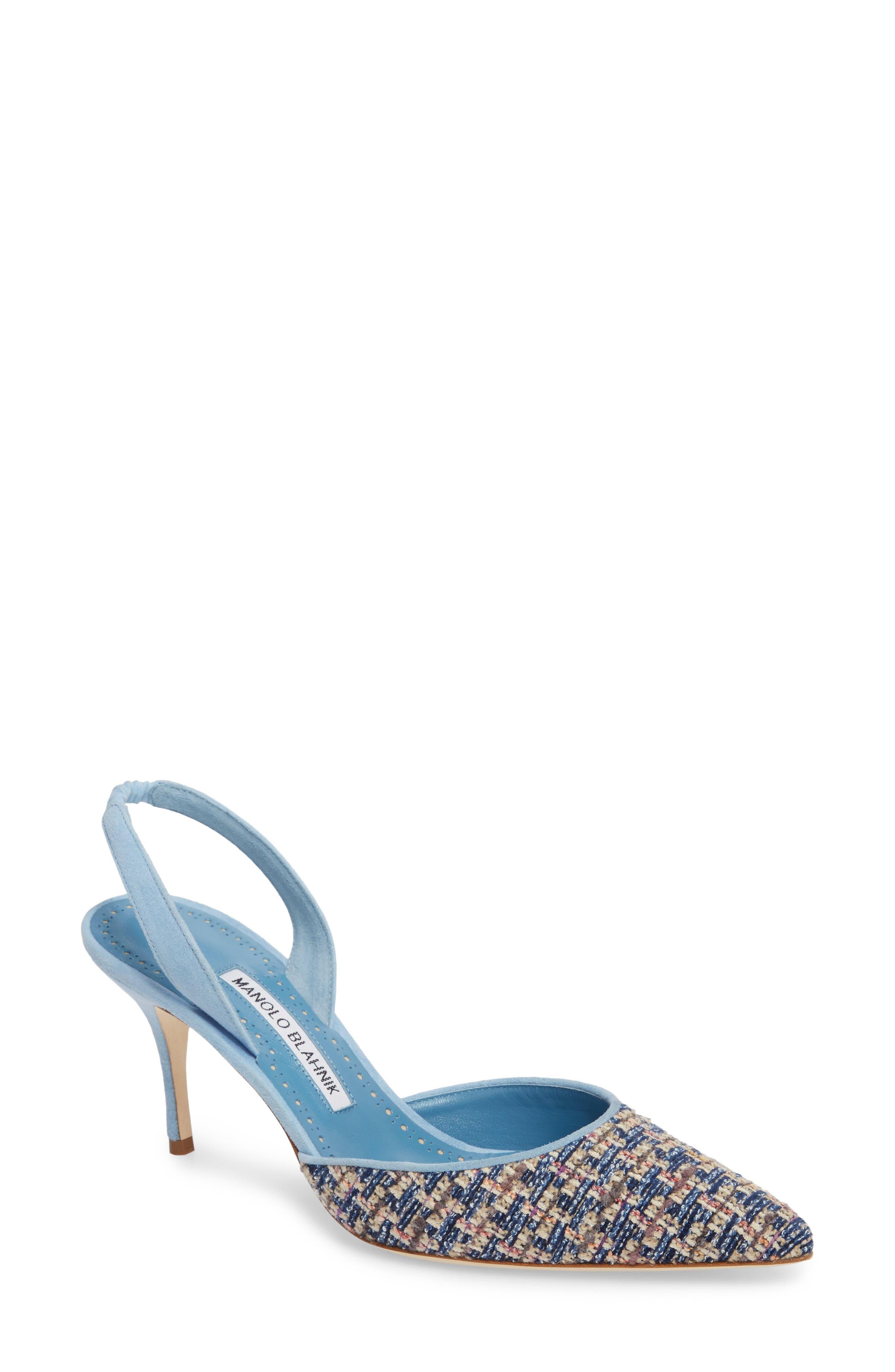 'Carolyne' Pointy Toe Slingback Pump,                             Main thumbnail 1, color,                             Blue Tweed