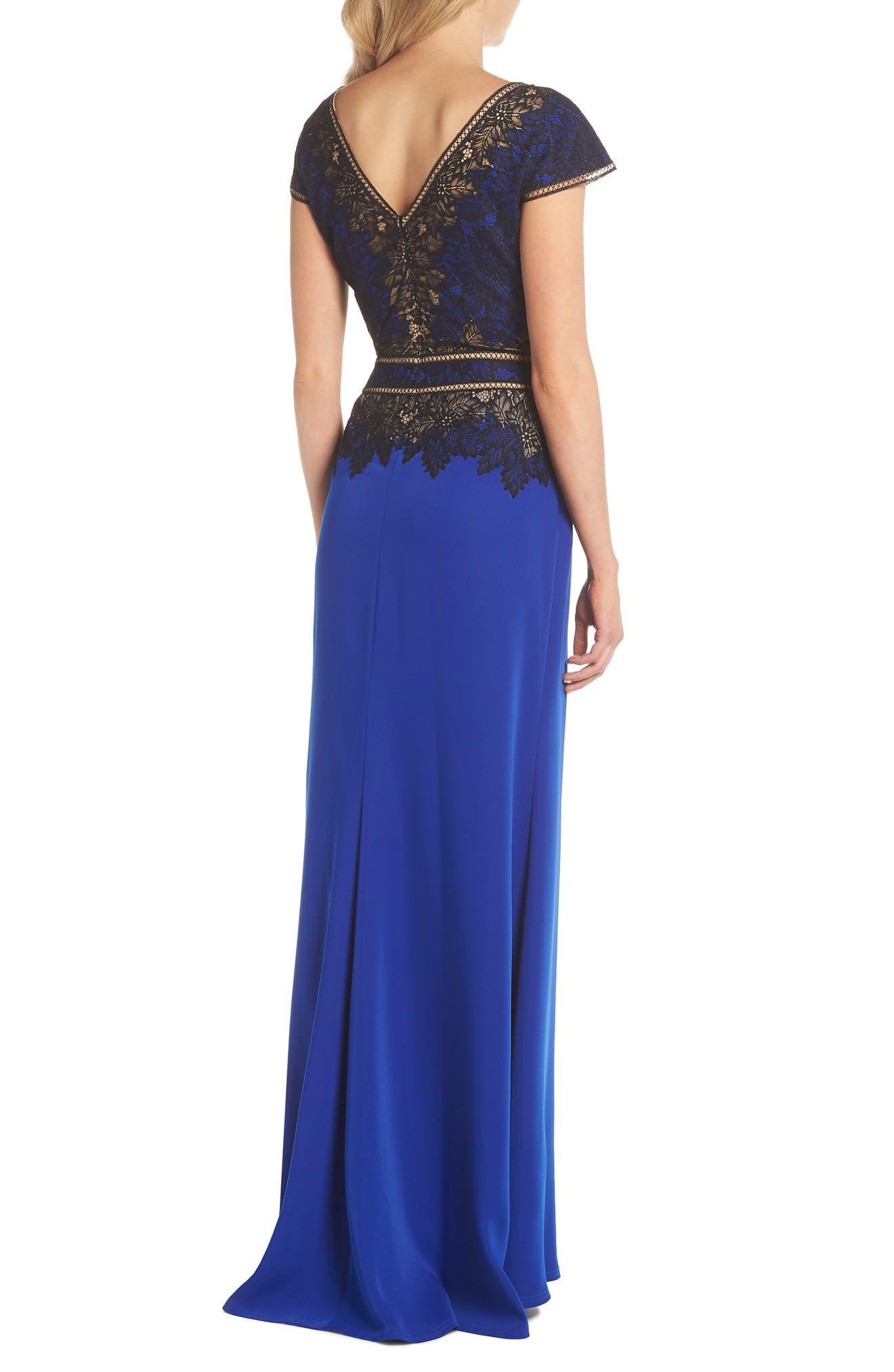 Violette Lace & Crepe Gown,                             Alternate thumbnail 2, color,                             Black Lake