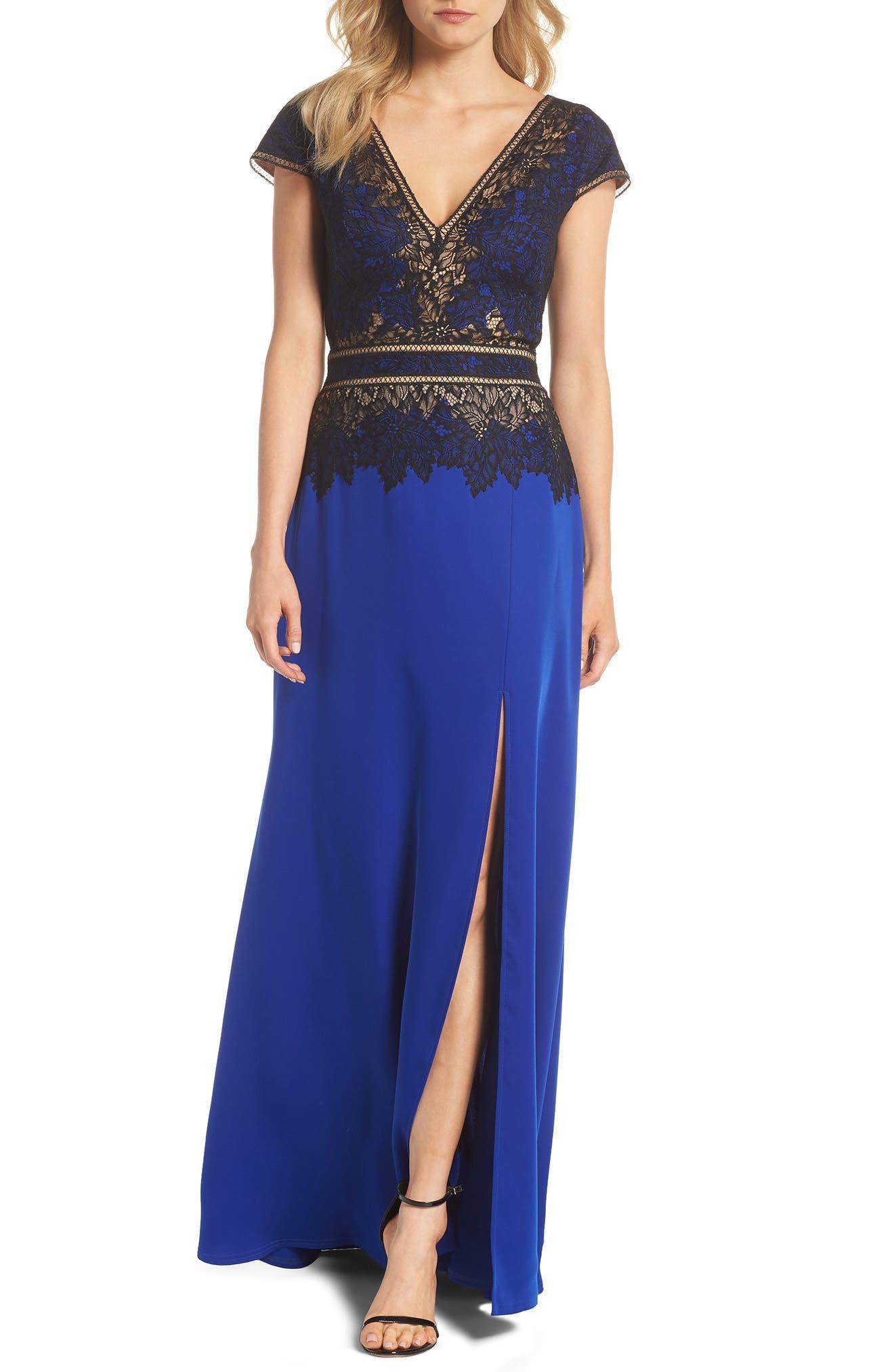 Violette Lace & Crepe Gown,                             Main thumbnail 1, color,                             Black Lake