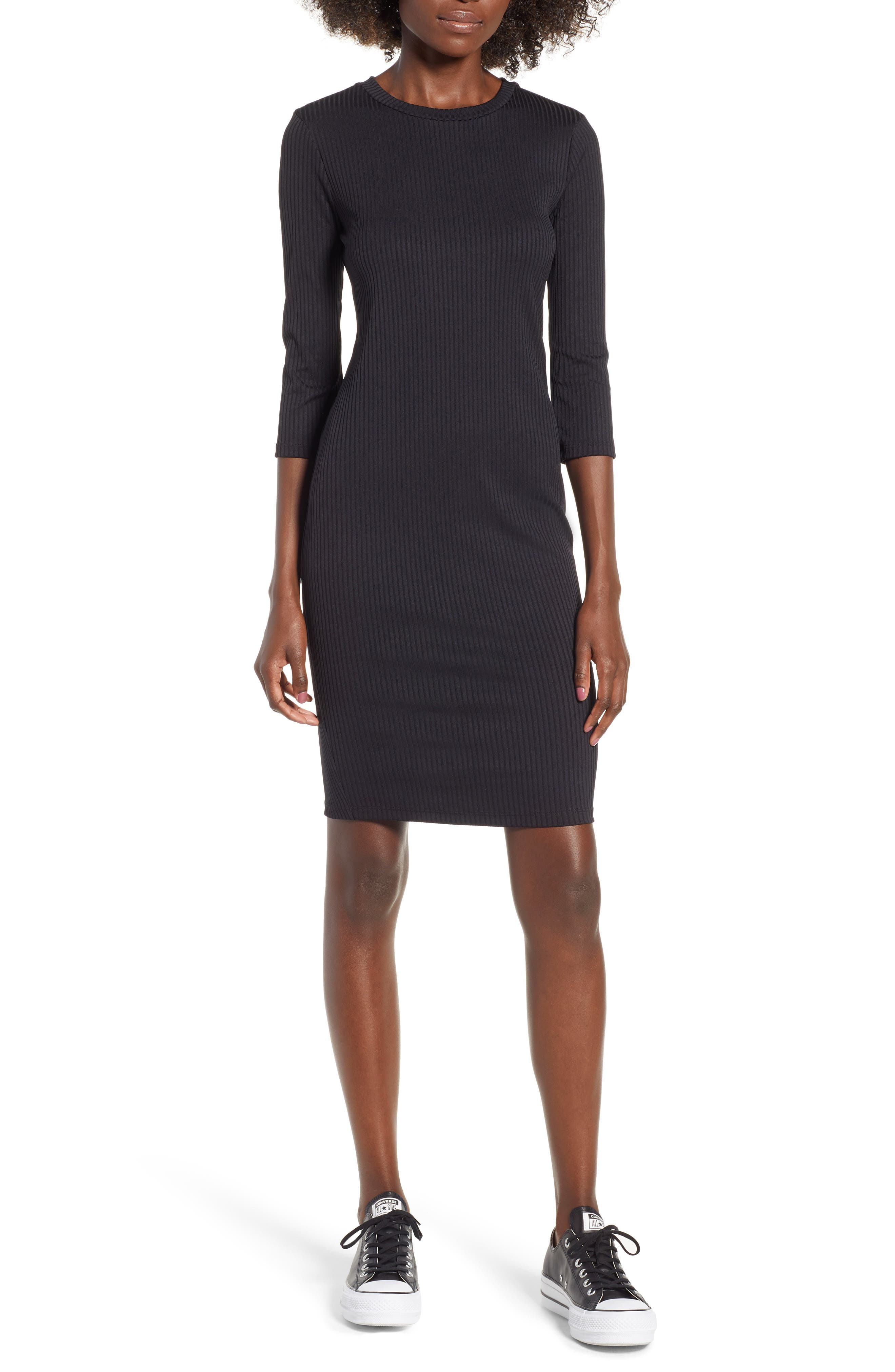 Ribbed Body-Con Minidress,                         Main,                         color, Black
