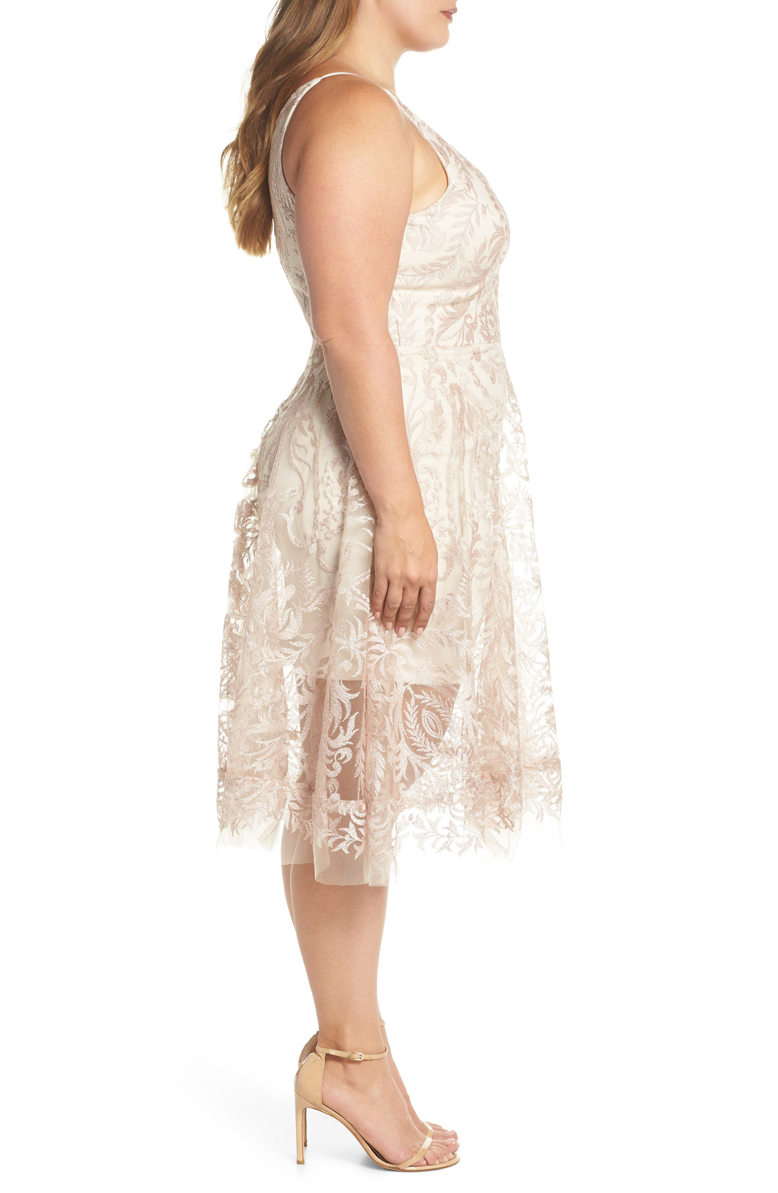 Embroidered Fit & Flare Dress,                             Alternate thumbnail 3, color,                             Blush