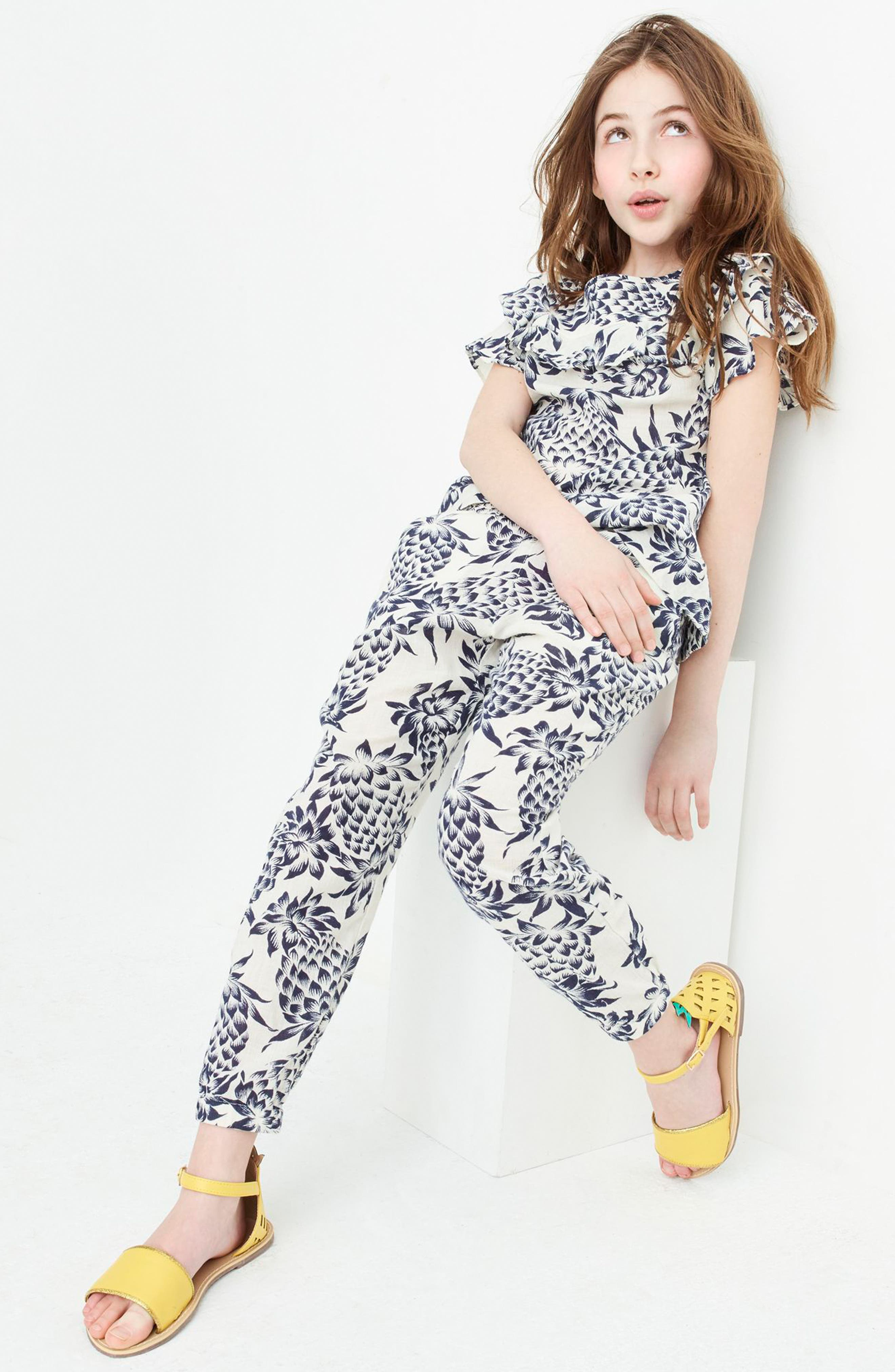 Wallace Pineapple Print Pants,                             Alternate thumbnail 3, color,                             Champagne Indigo