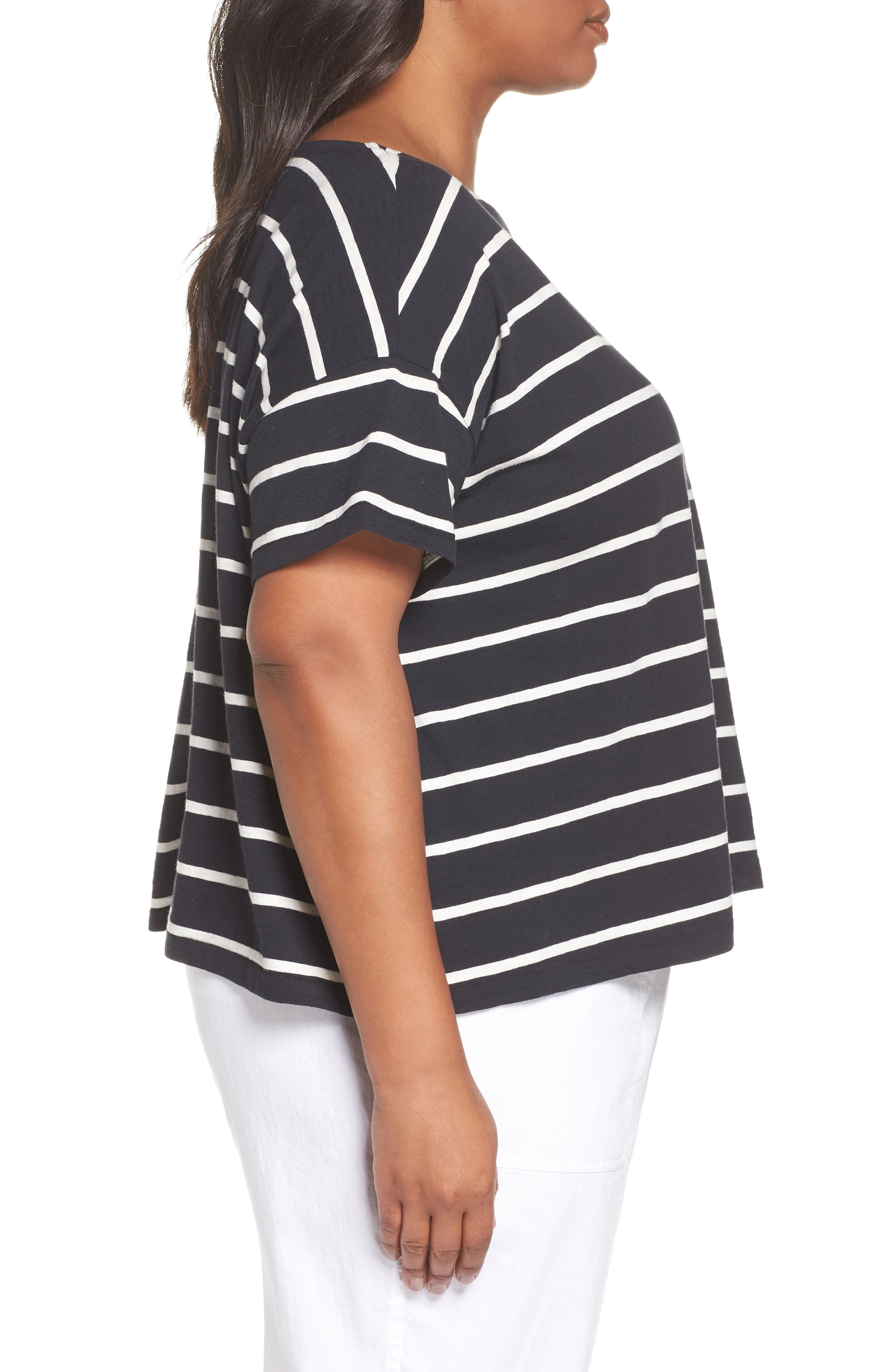 Stripe Organic Cotton Top,                             Alternate thumbnail 3, color,                             Black/ White