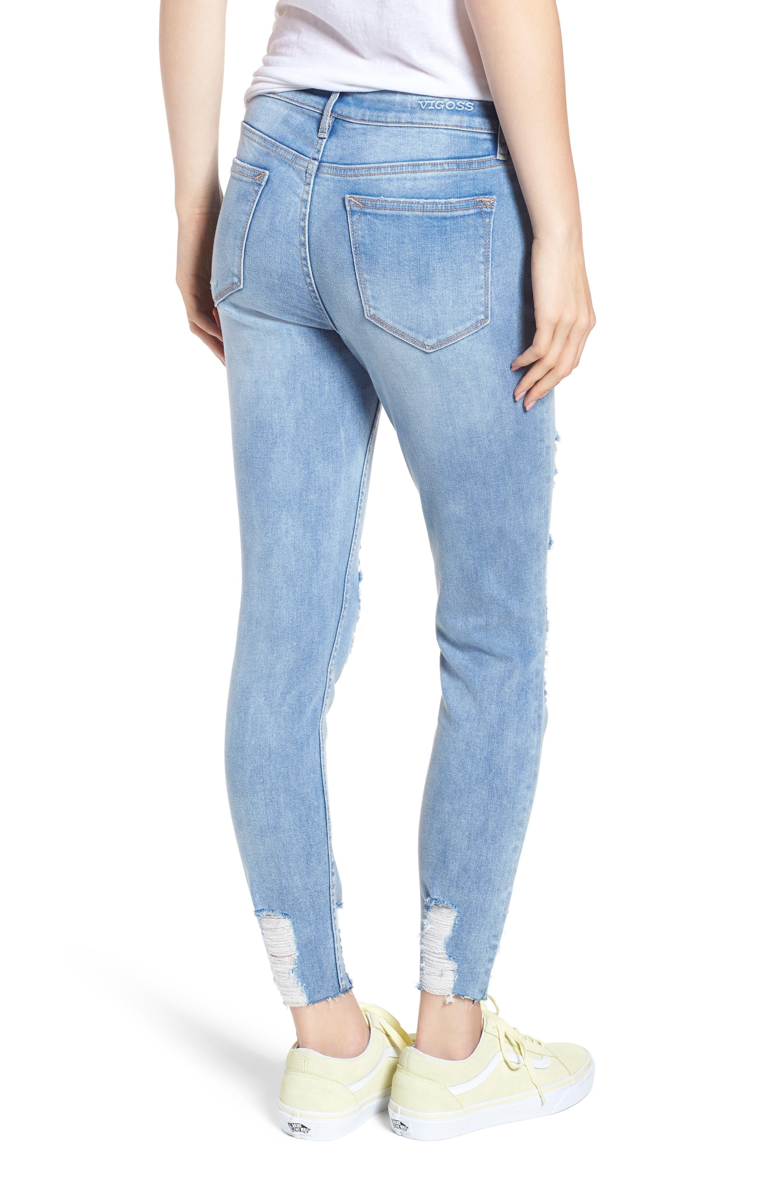 Marley Distressed Crop Skinny Jeans,                             Alternate thumbnail 2, color,                             Light Medium Wash
