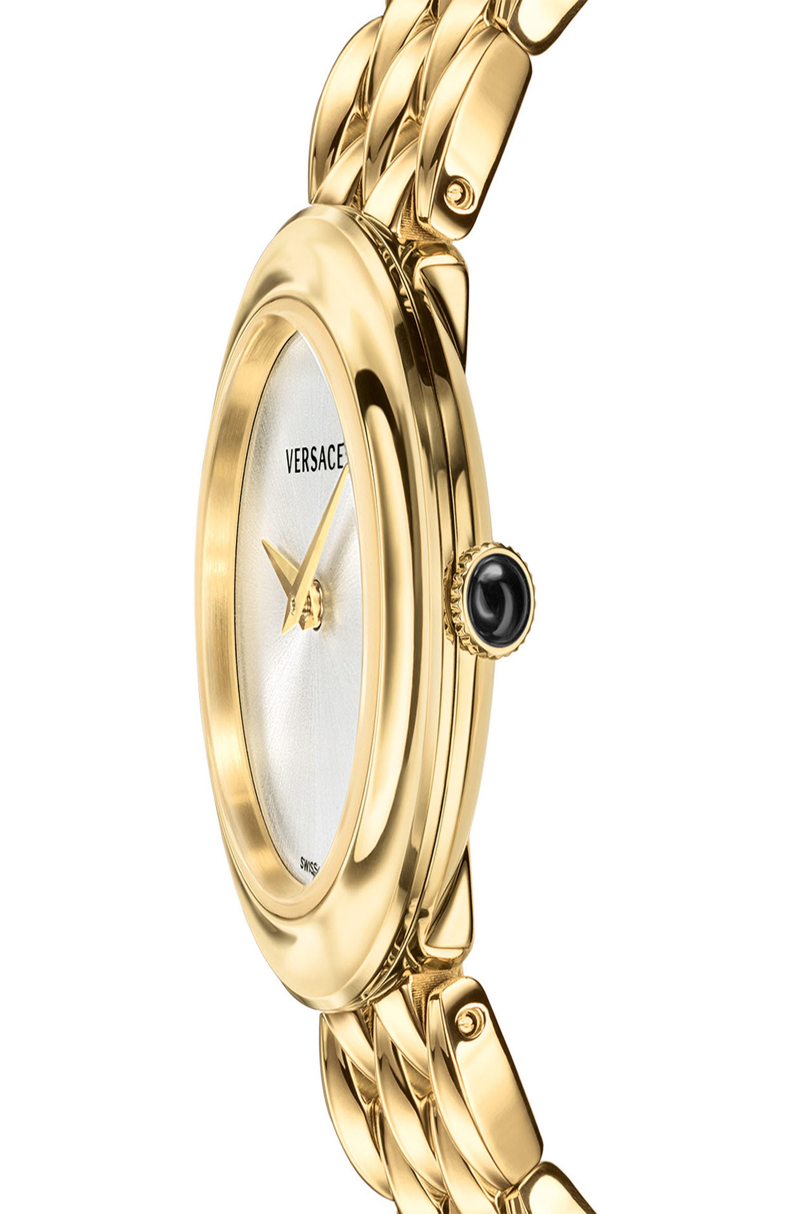 V-Flare Bracelet Watch, 28mm,                             Alternate thumbnail 4, color,                             Gold/ Silver/ Gold