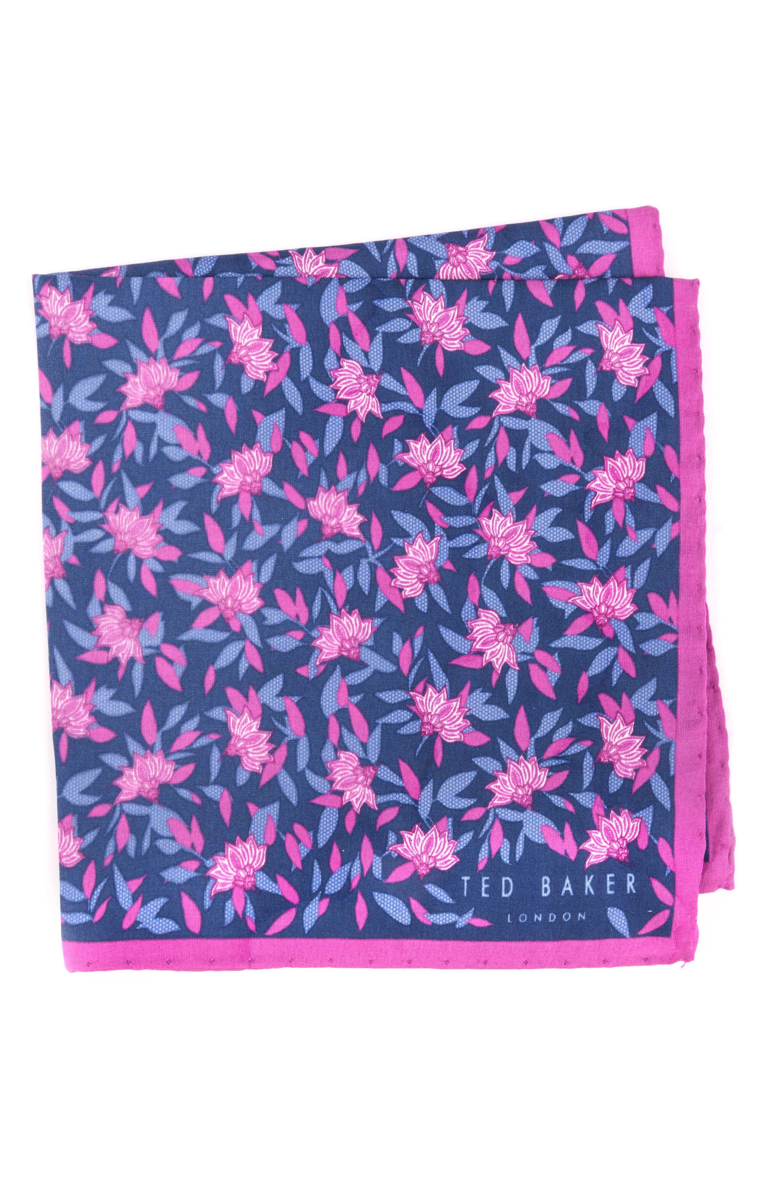 Botanical Silk Pocket Square,                         Main,                         color, Pink