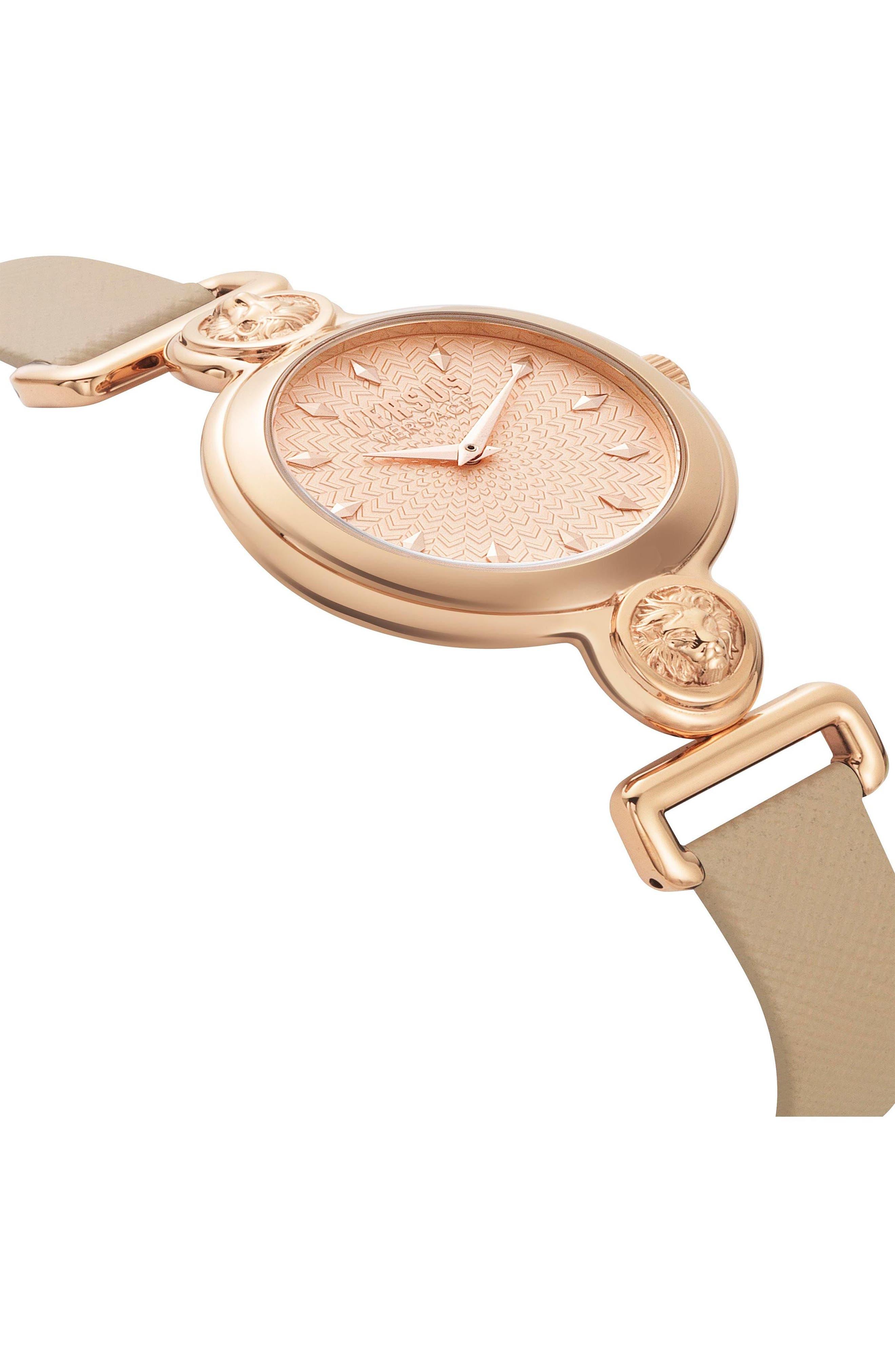 VERSUS by Versace Sunnyridge Leather Strap Watch, 34mm,                             Alternate thumbnail 3, color,                             Blush/ Rose Gold