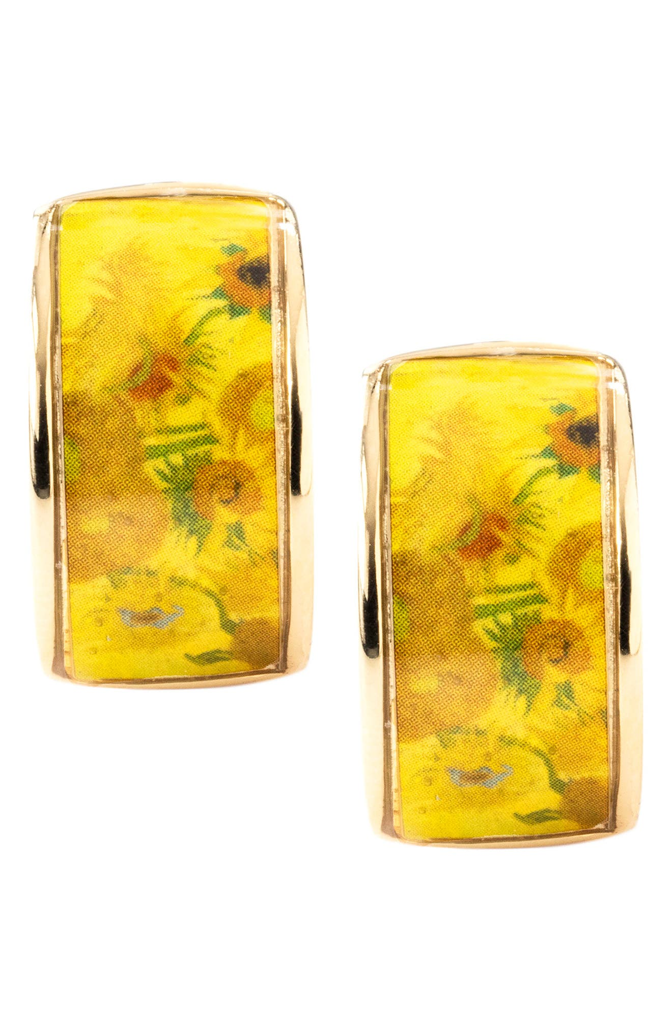 Sunflower Earrings,                             Alternate thumbnail 4, color,                             Yellow/ Gold