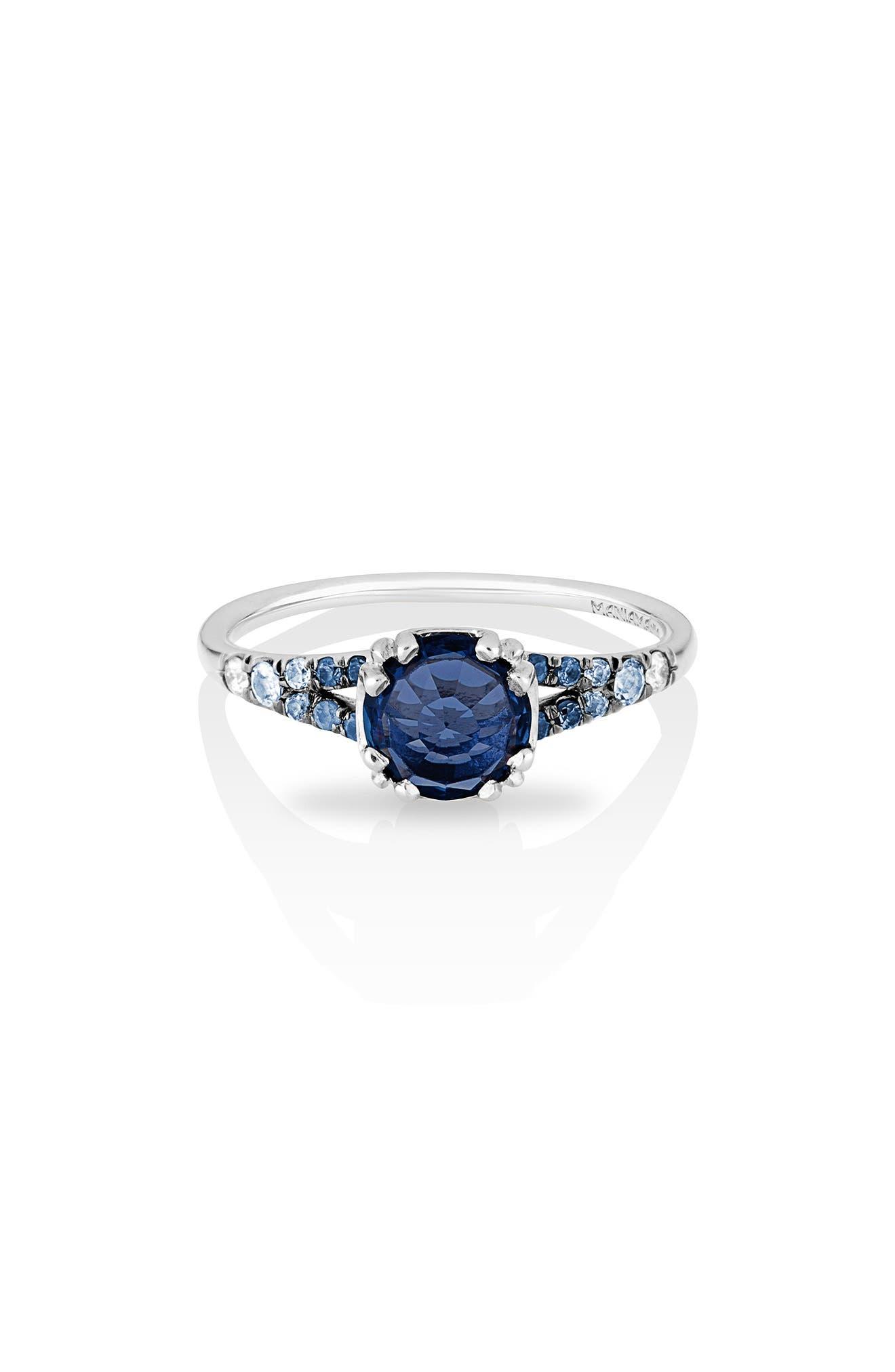 Devotion Gradient Sapphire Solitaire Ring,                             Main thumbnail 1, color,                             Blue Sapphire