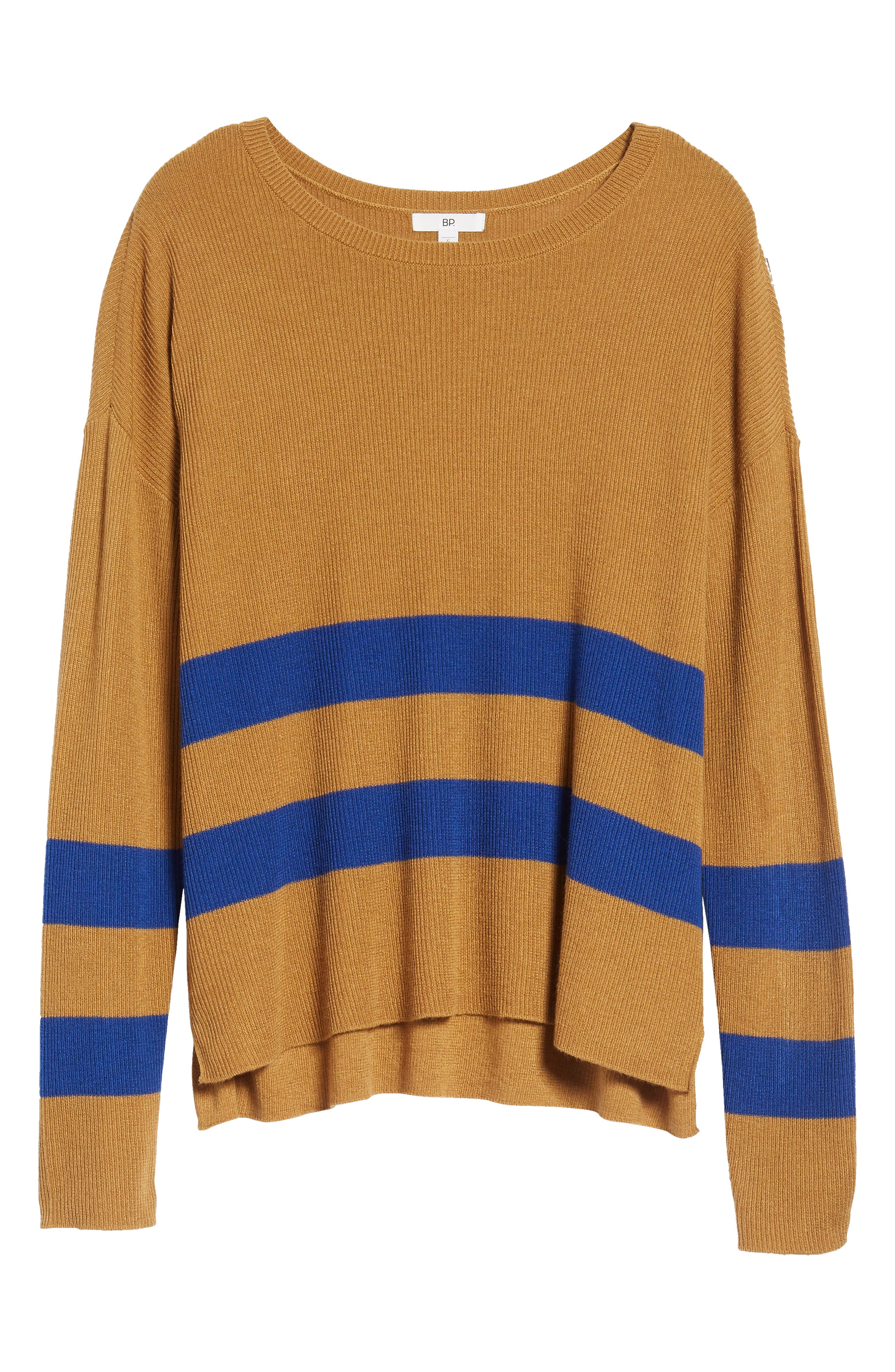 Varsity Stripe Sweater,                             Alternate thumbnail 6, color,                             Brown Cattail Kenzie Stripe