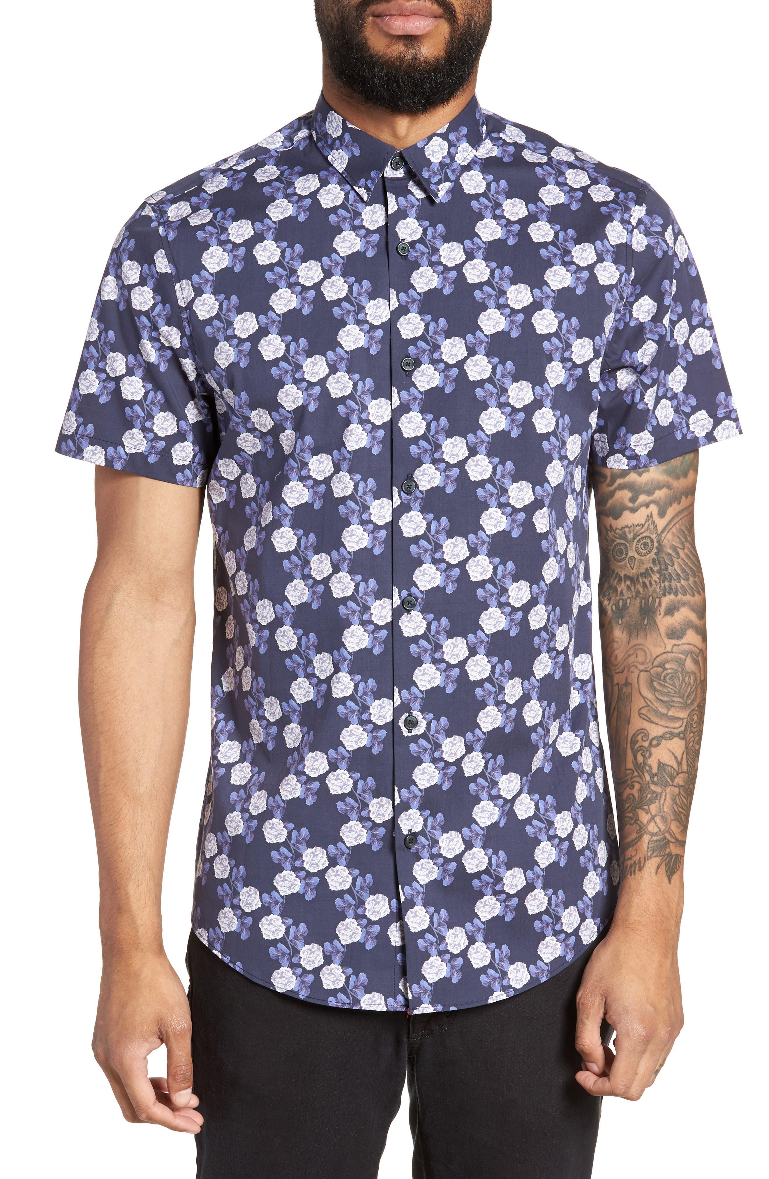 Trim Fit Short Sleeve Sport Shirt,                             Main thumbnail 1, color,                             Blue Flower Print