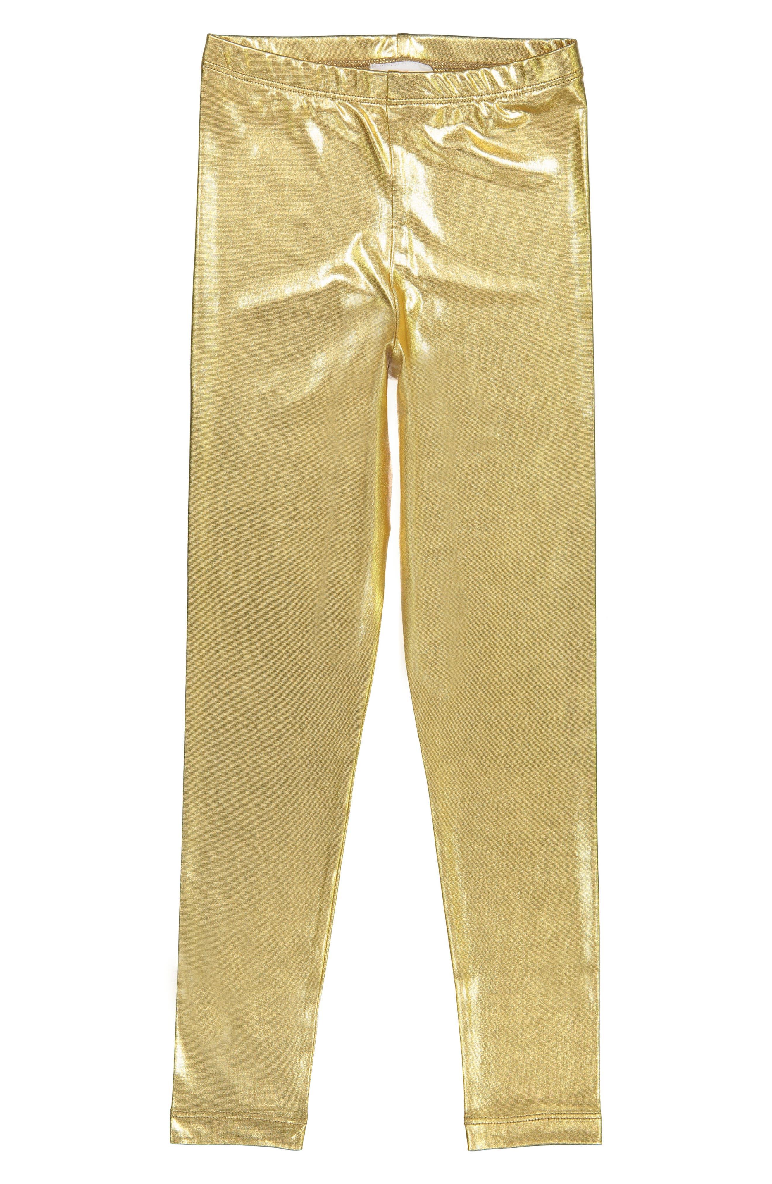 Gold Metallic Leggings,                         Main,                         color, Gold
