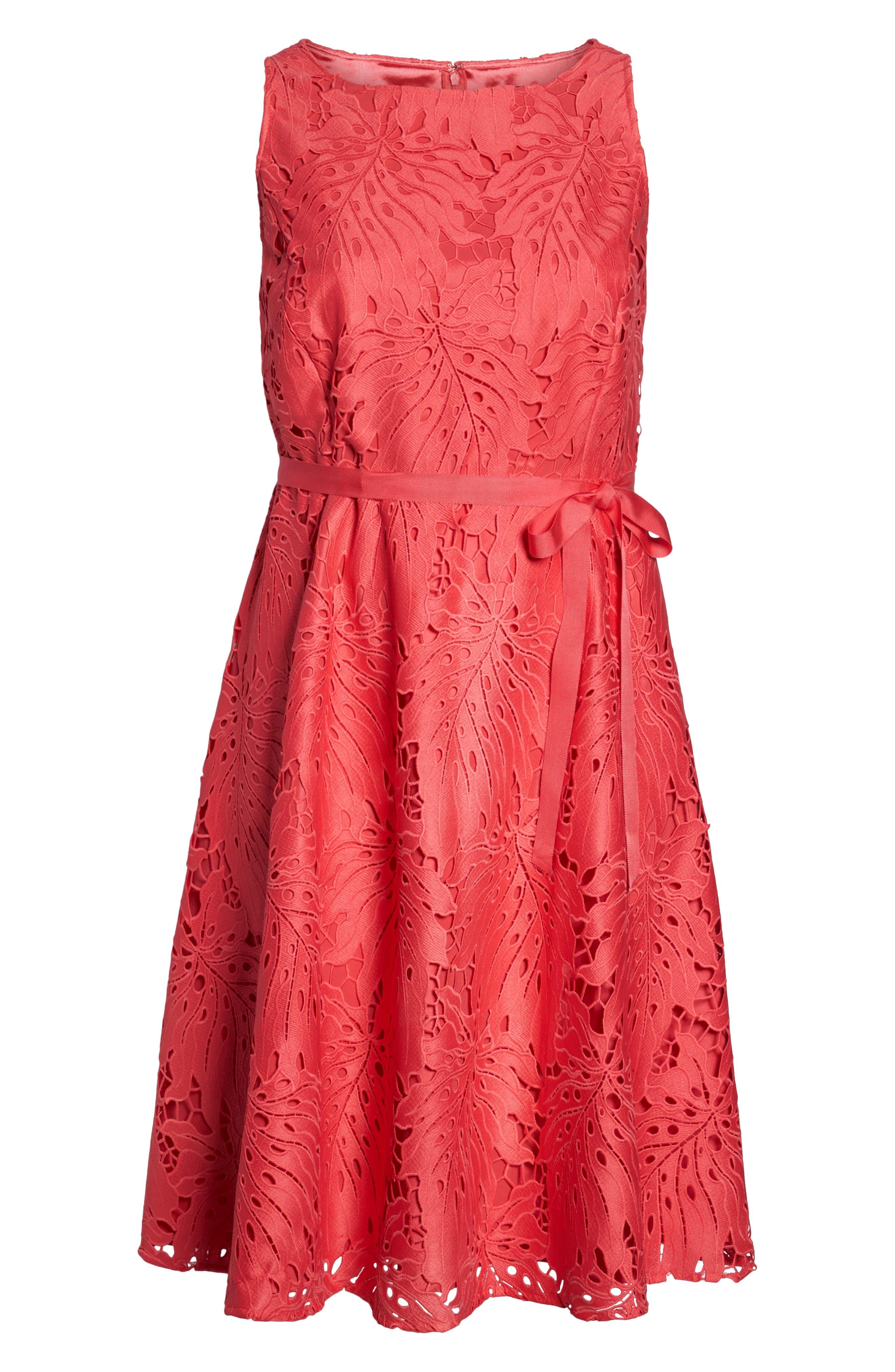 Palm Leaf Chemical Lace A-Line Dress,                             Alternate thumbnail 7, color,                             Watermelon