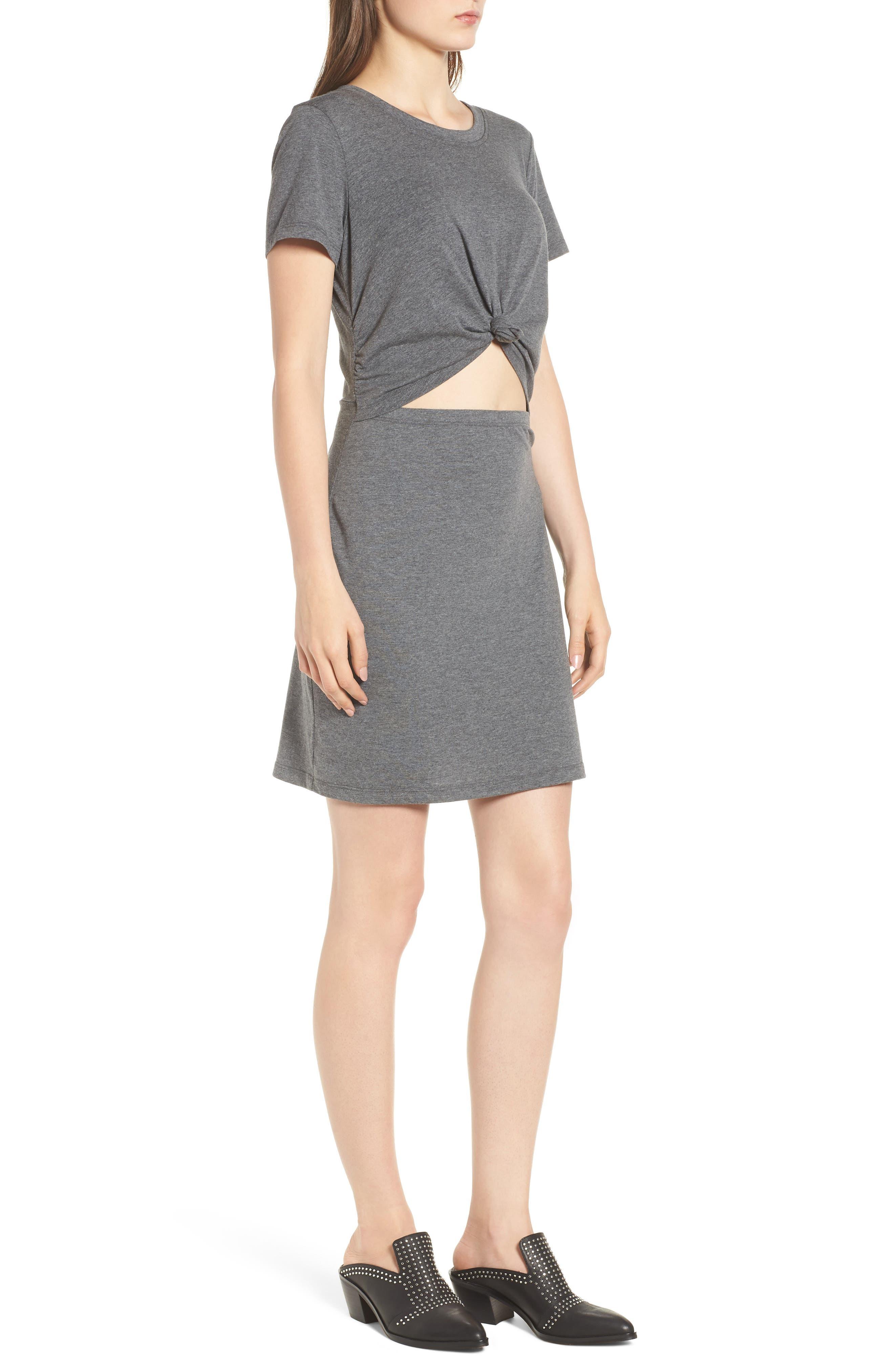Knot Front Cutout Dress,                             Alternate thumbnail 3, color,                             Heather Grey