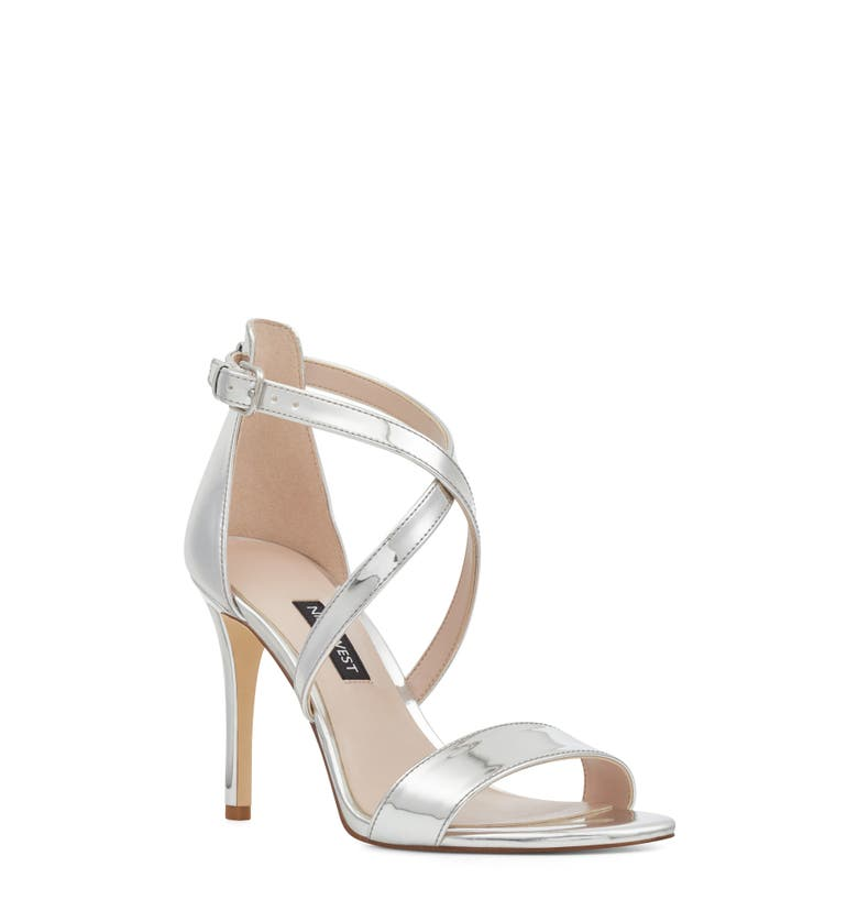 Mydebut Strappy Sandal,                         Main,                         color, Silver Faux Leather