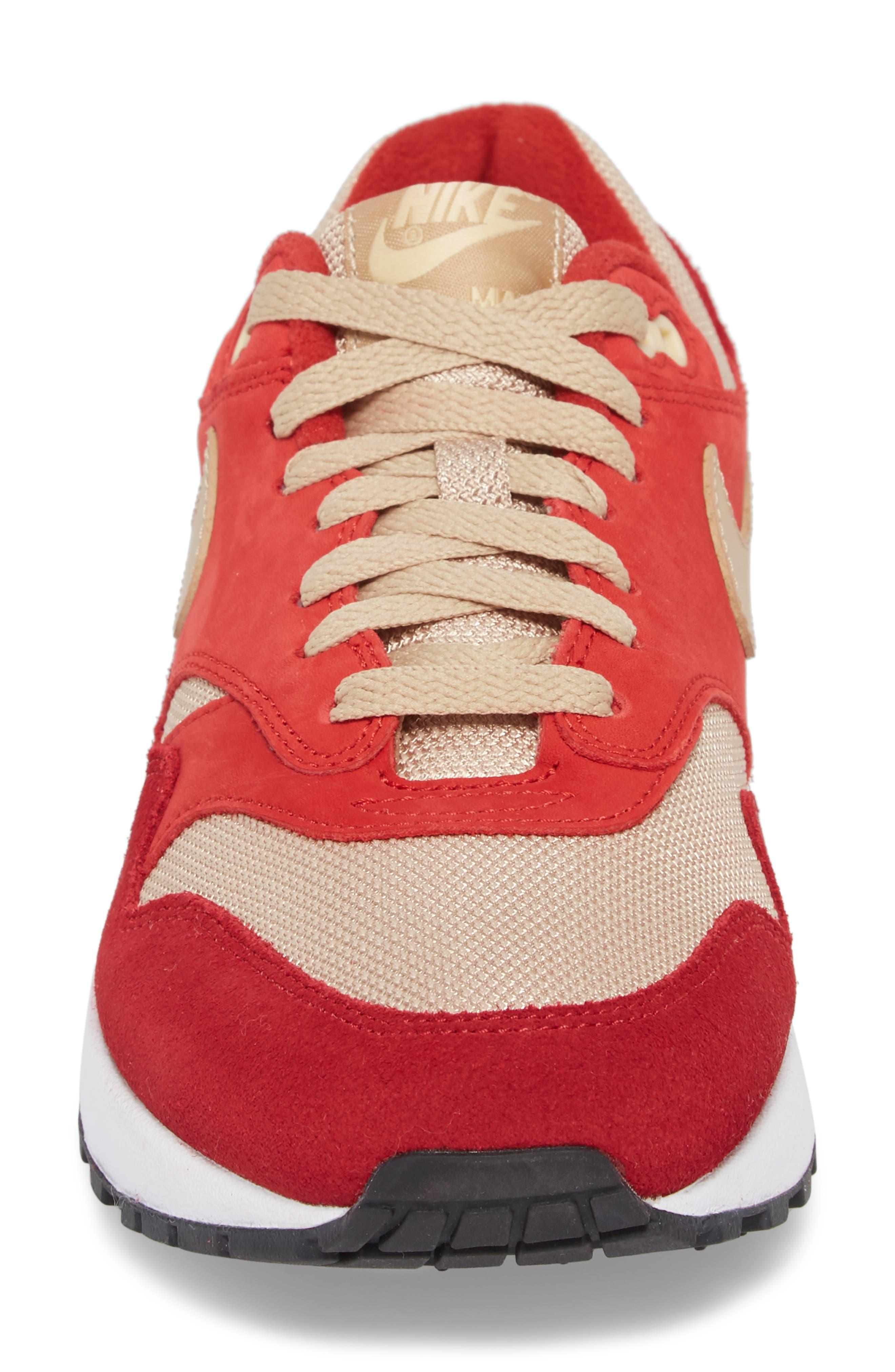 Air Max 1 Premium Retro Sneaker,                             Alternate thumbnail 4, color,                             Red/ Mushroom-Red-Vanilla