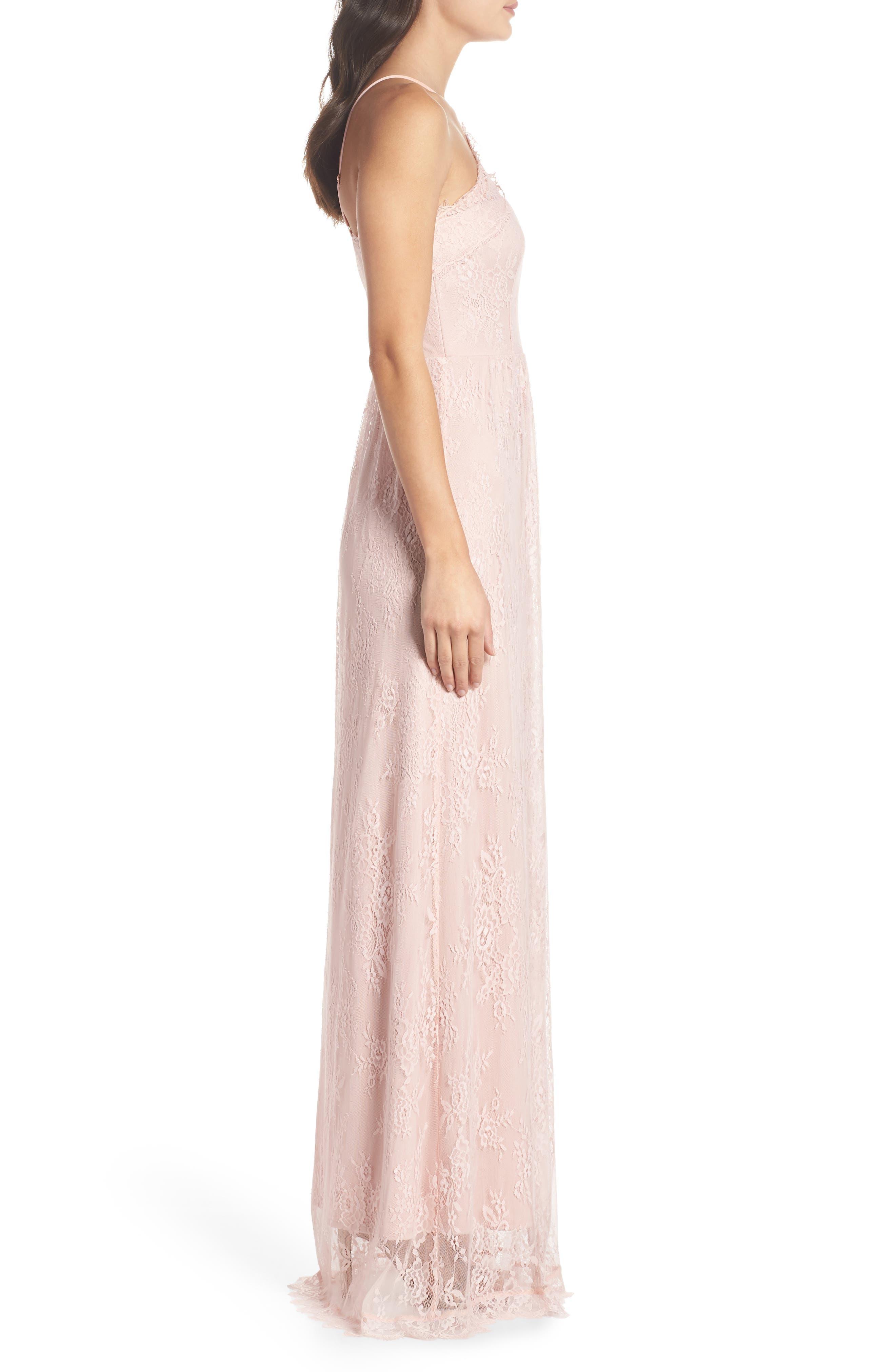 Eloise Halter Neck Lace Gown,                             Alternate thumbnail 3, color,                             Rose Quartz