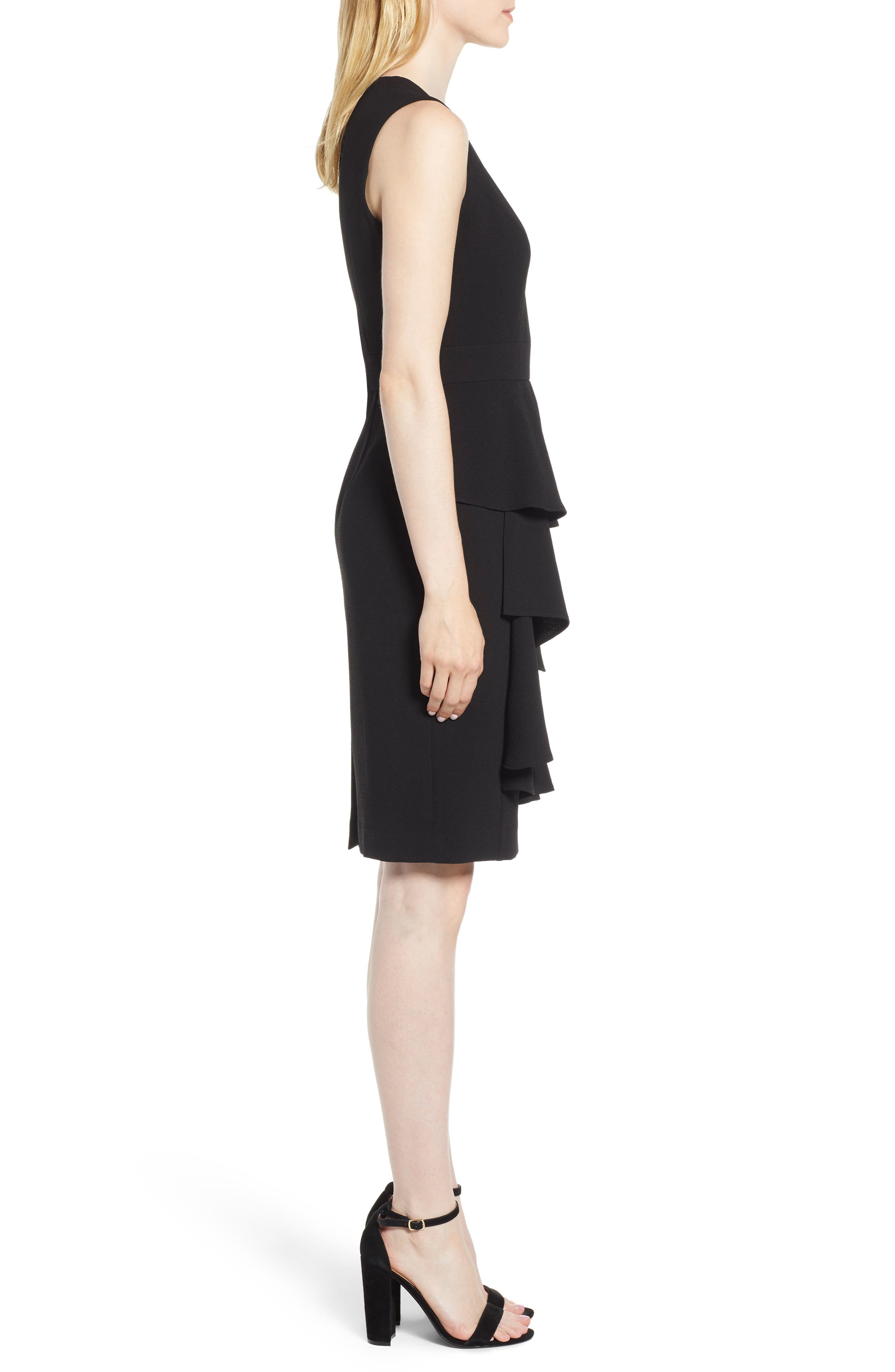 Ruffle Front Dress,                             Alternate thumbnail 3, color,                             Black