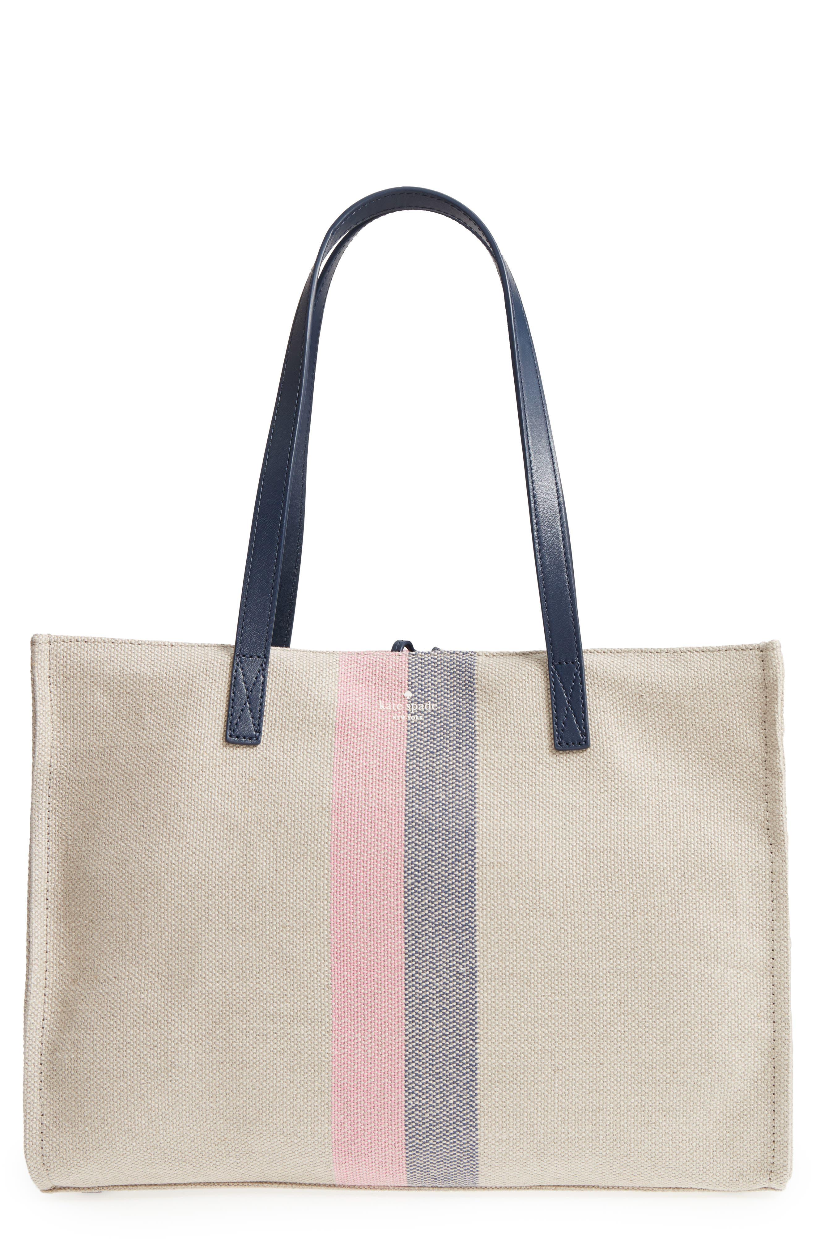 washington square - mega sam canvas satchel,                         Main,                         color, Natural Linen/Bubble Gum/Navy