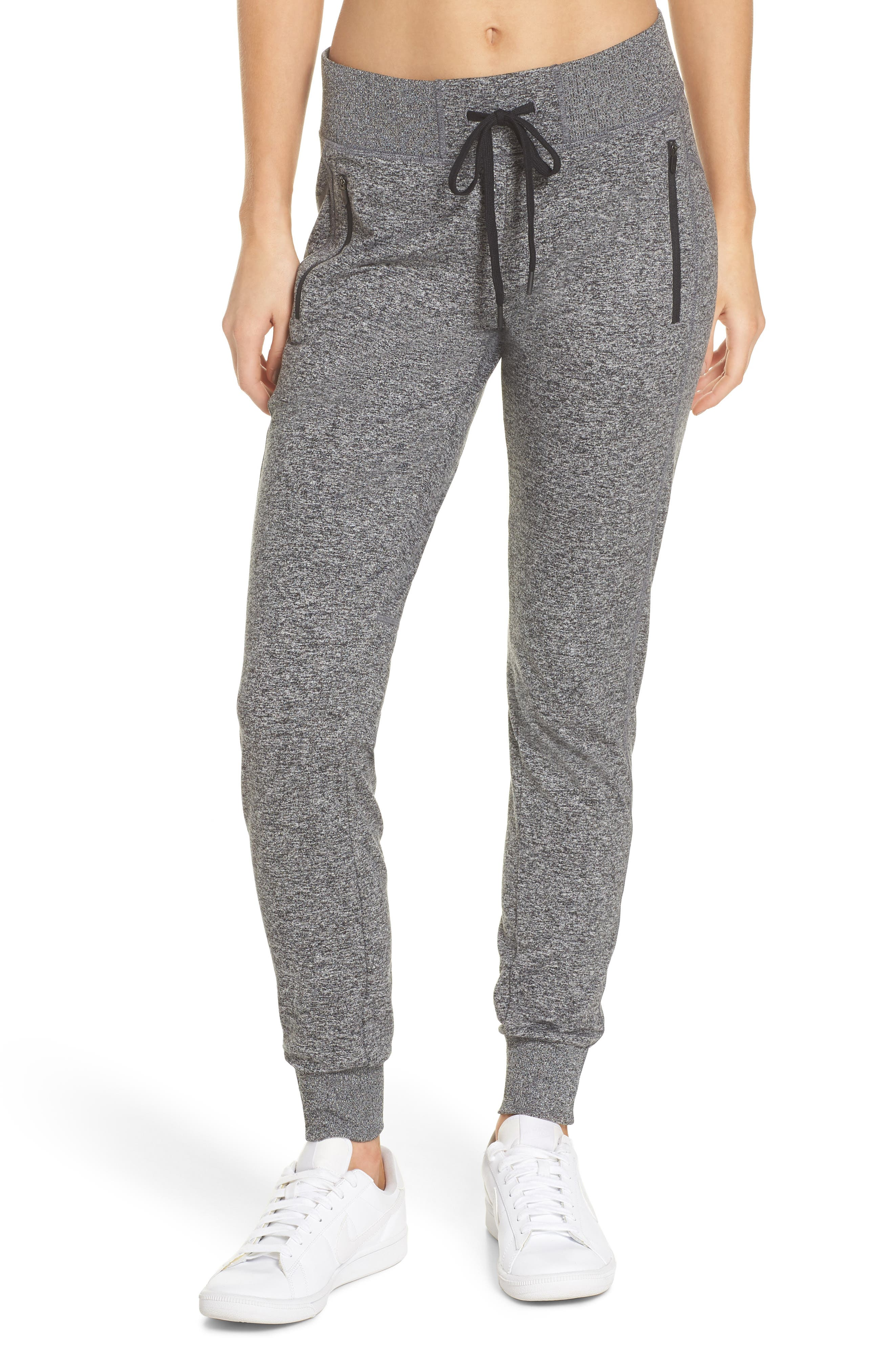 Taryn Recycled Mélange Jogger Pants,                         Main,                         color, Black