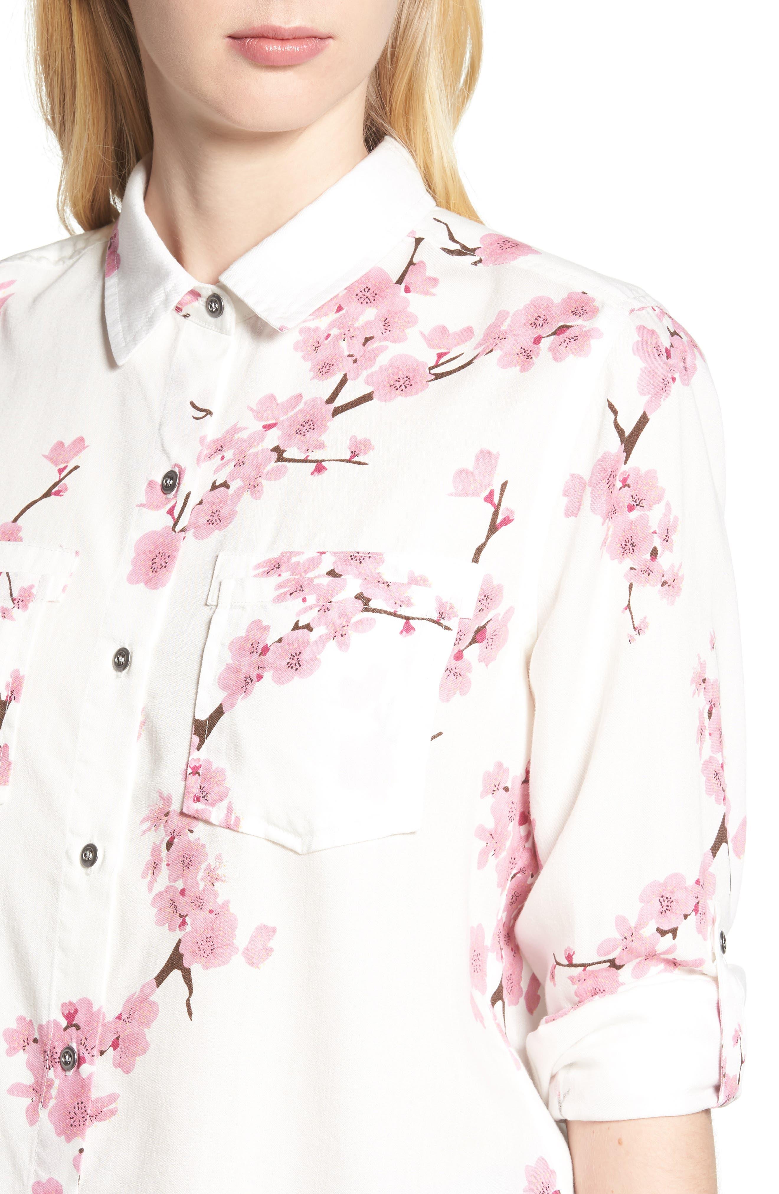 Cherry Blossom Roll Tab Sleeve Shirt,                             Alternate thumbnail 4, color,                             White Cherry Blossom