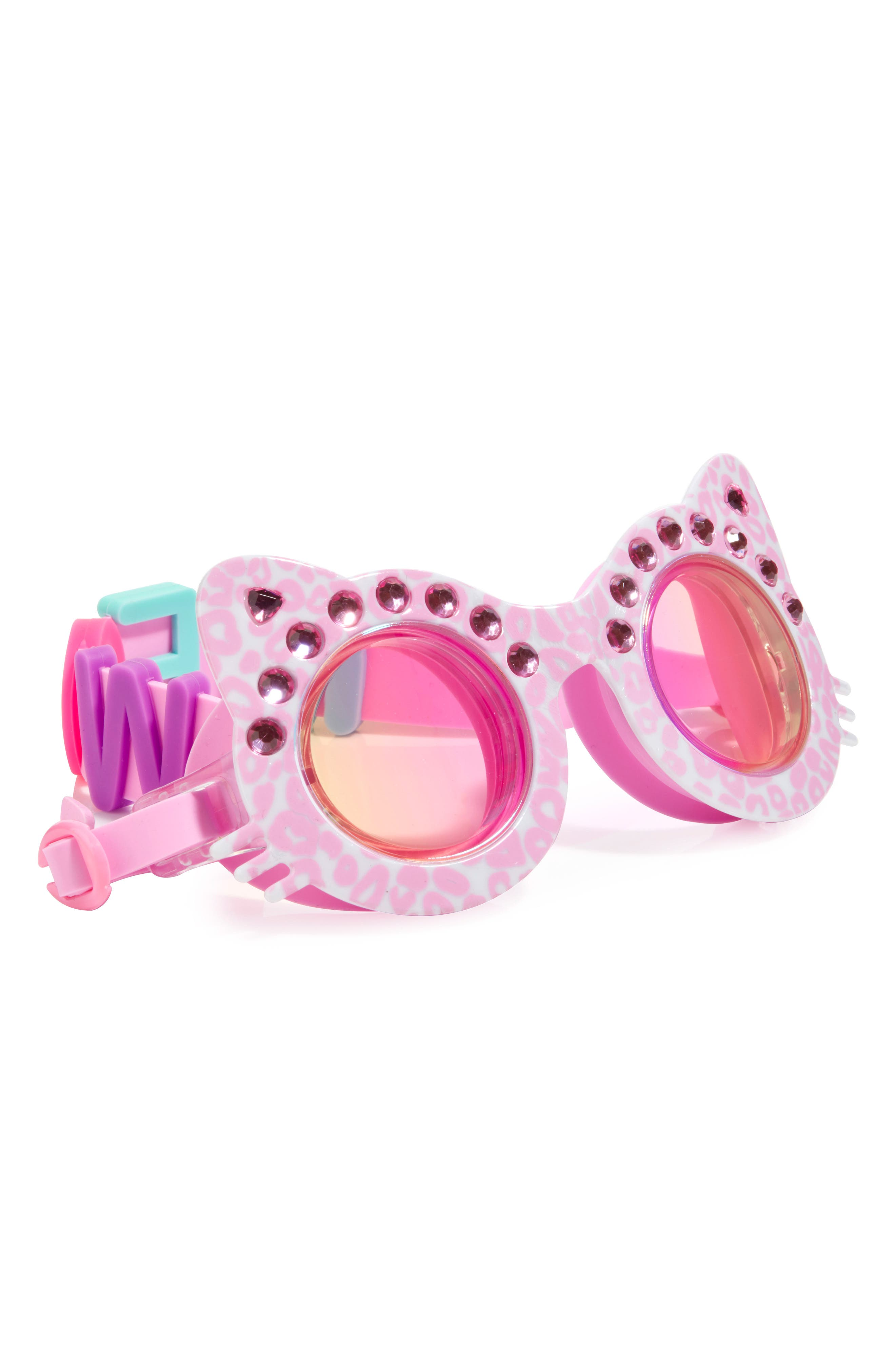The Cat's Meow Swim Goggles,                         Main,                         color, Pink White
