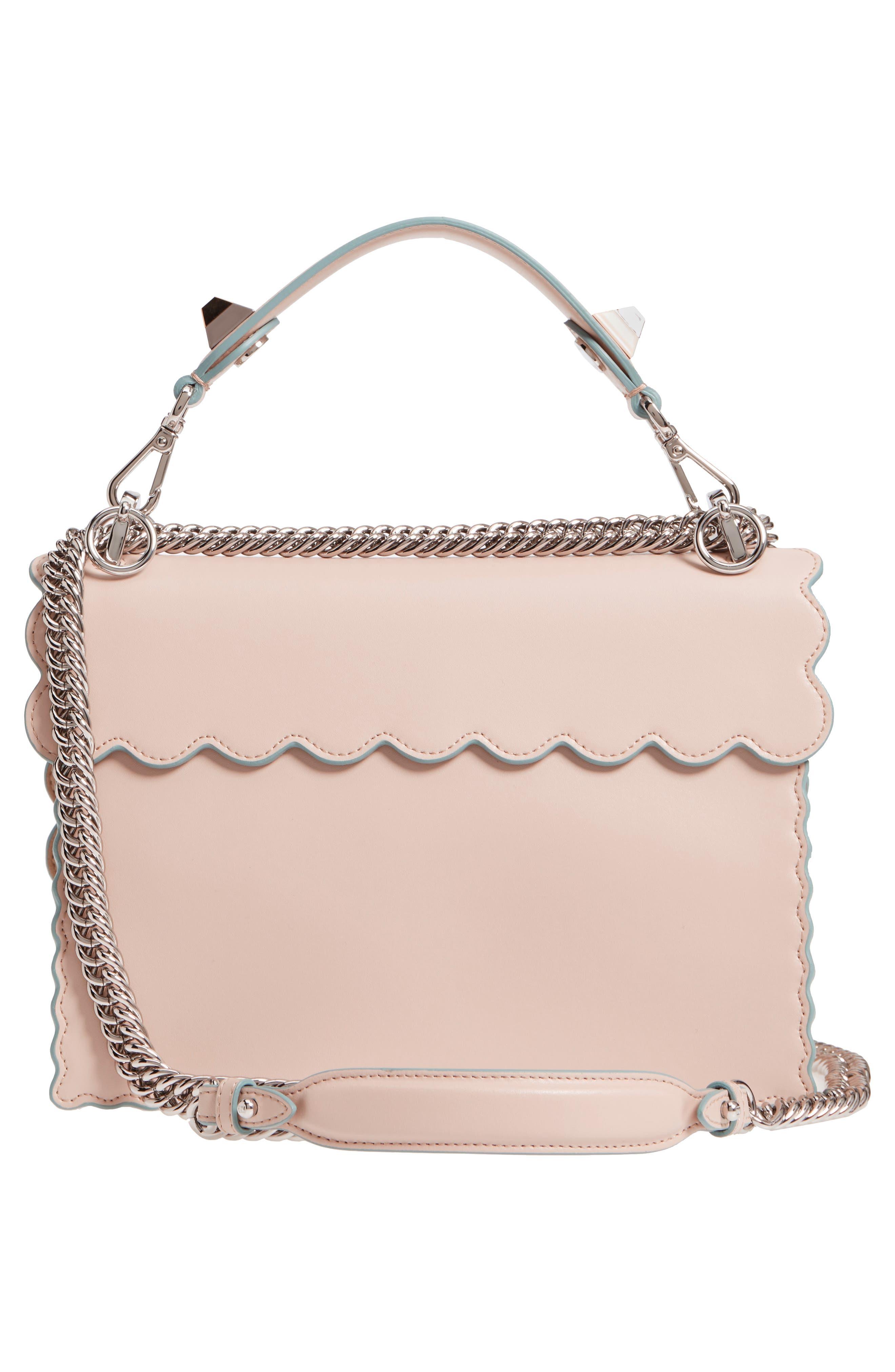 Kan I Scallop Leather Shoulder Bag,                             Alternate thumbnail 3, color,                             Soap/ Palladio