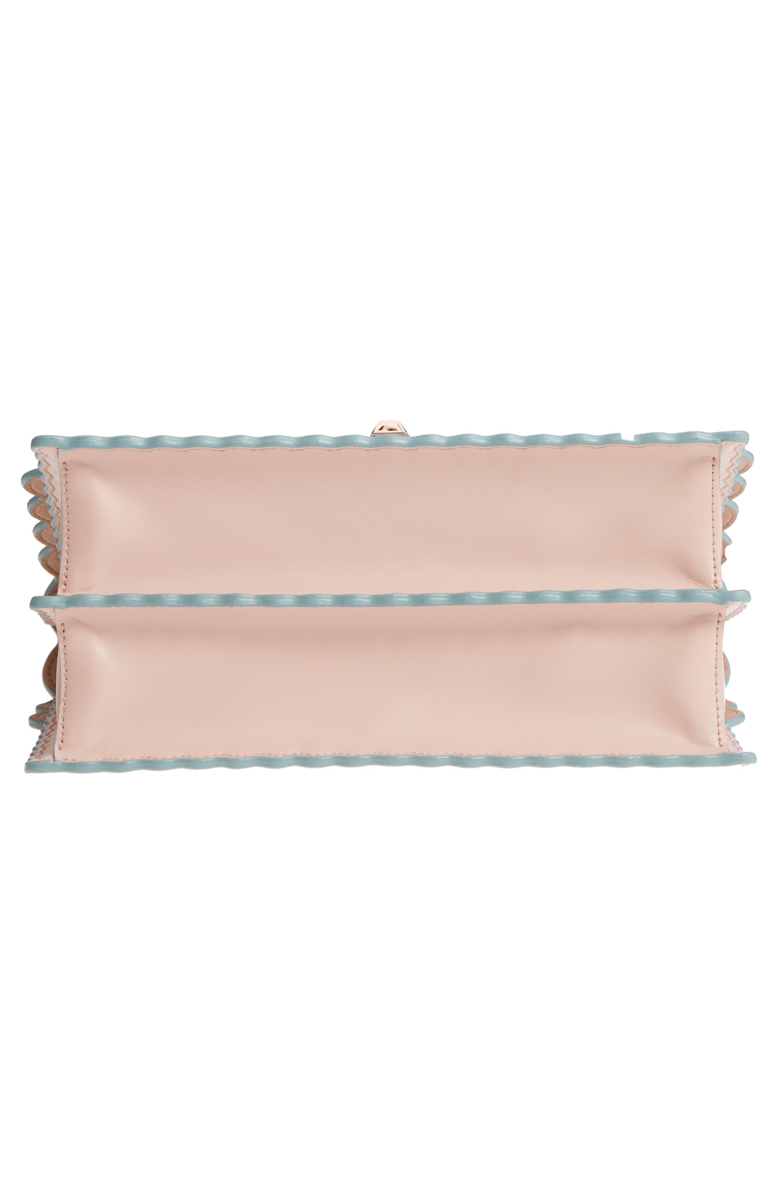 Kan I Scallop Leather Shoulder Bag,                             Alternate thumbnail 6, color,                             Soap/ Palladio