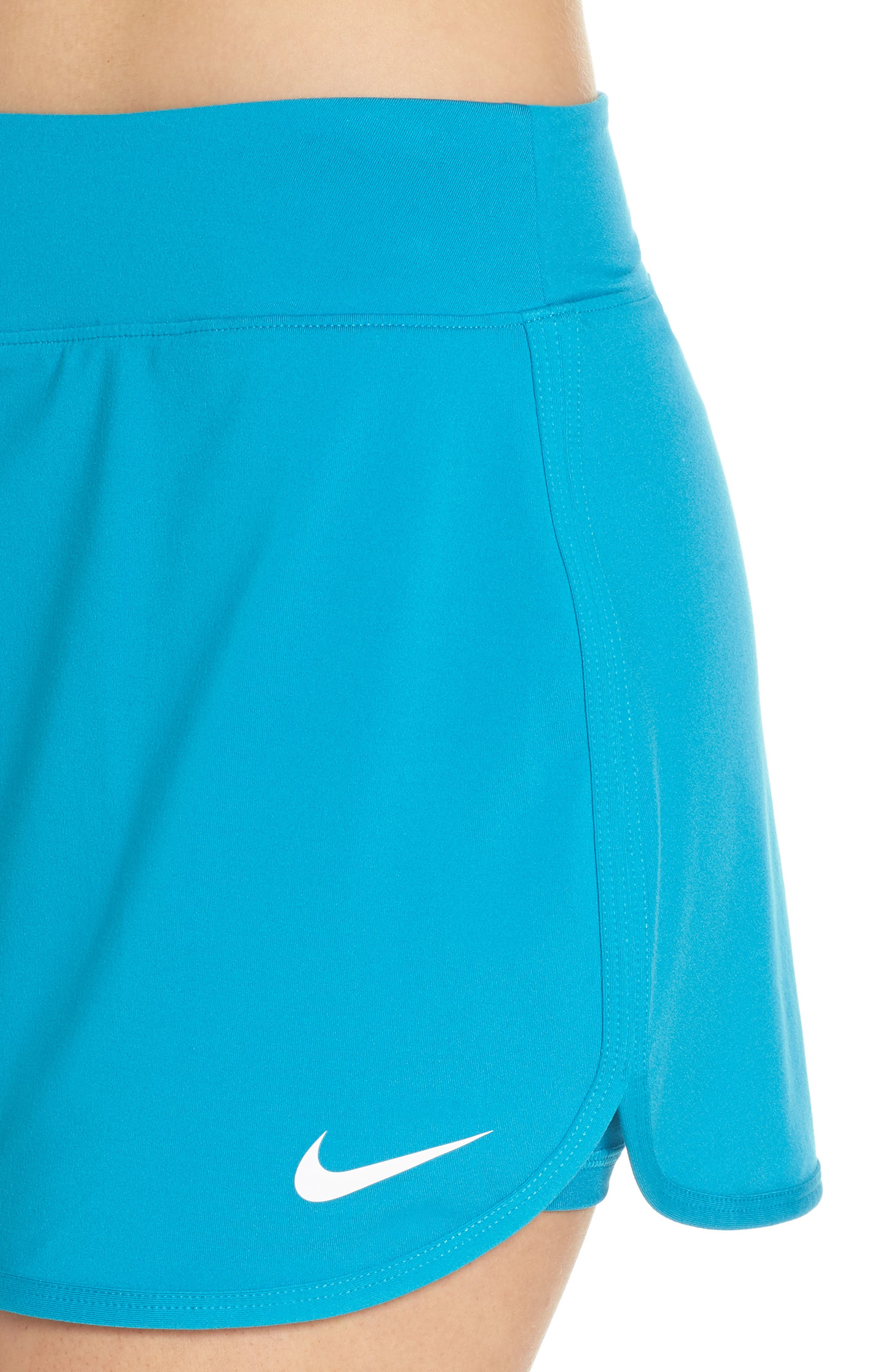 'Pure' Dri-FIT Tennis Skirt,                             Alternate thumbnail 4, color,                             Neo Turquoise/ White