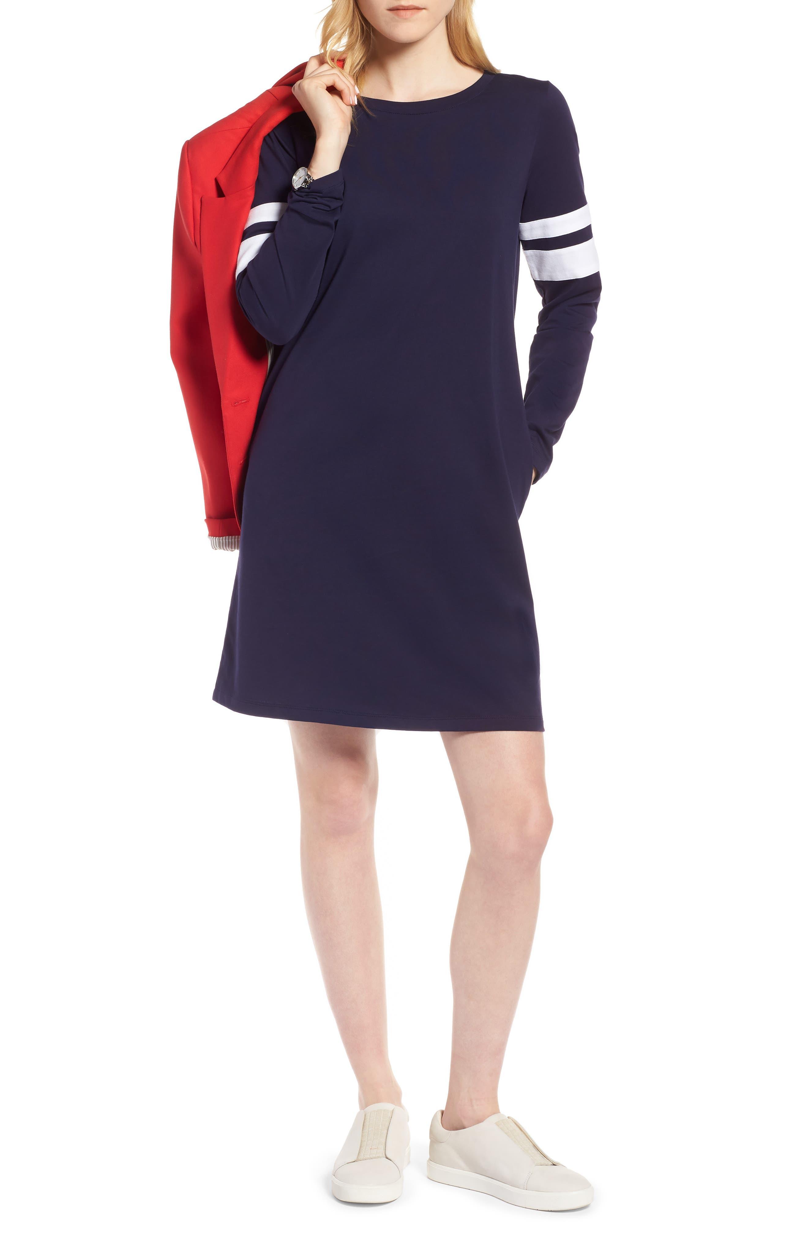 Varsity Knit Shift Dress,                         Main,                         color, Navy- White Combo
