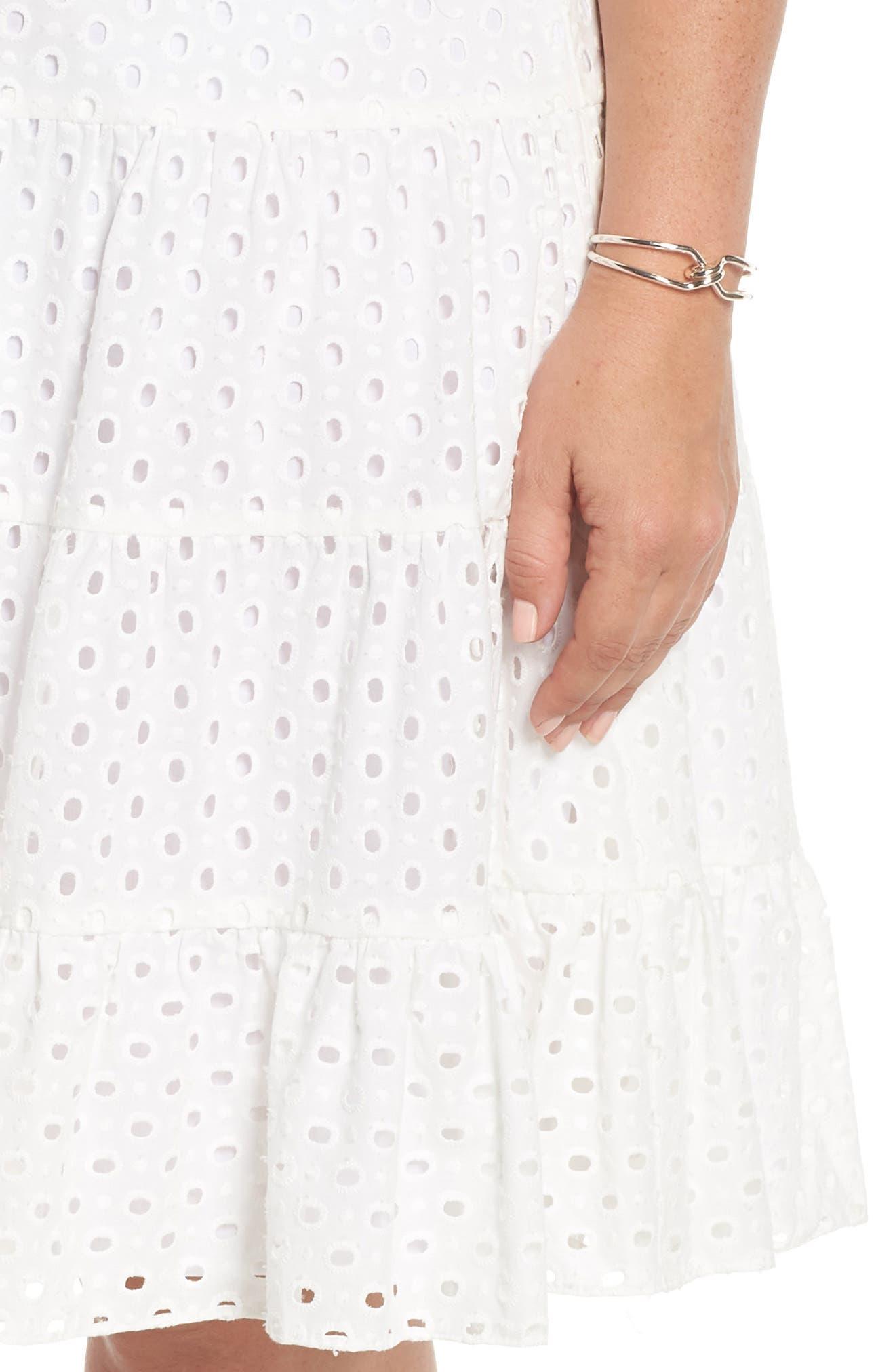 Eyelet Fit & Flare Dress,                             Alternate thumbnail 4, color,                             White