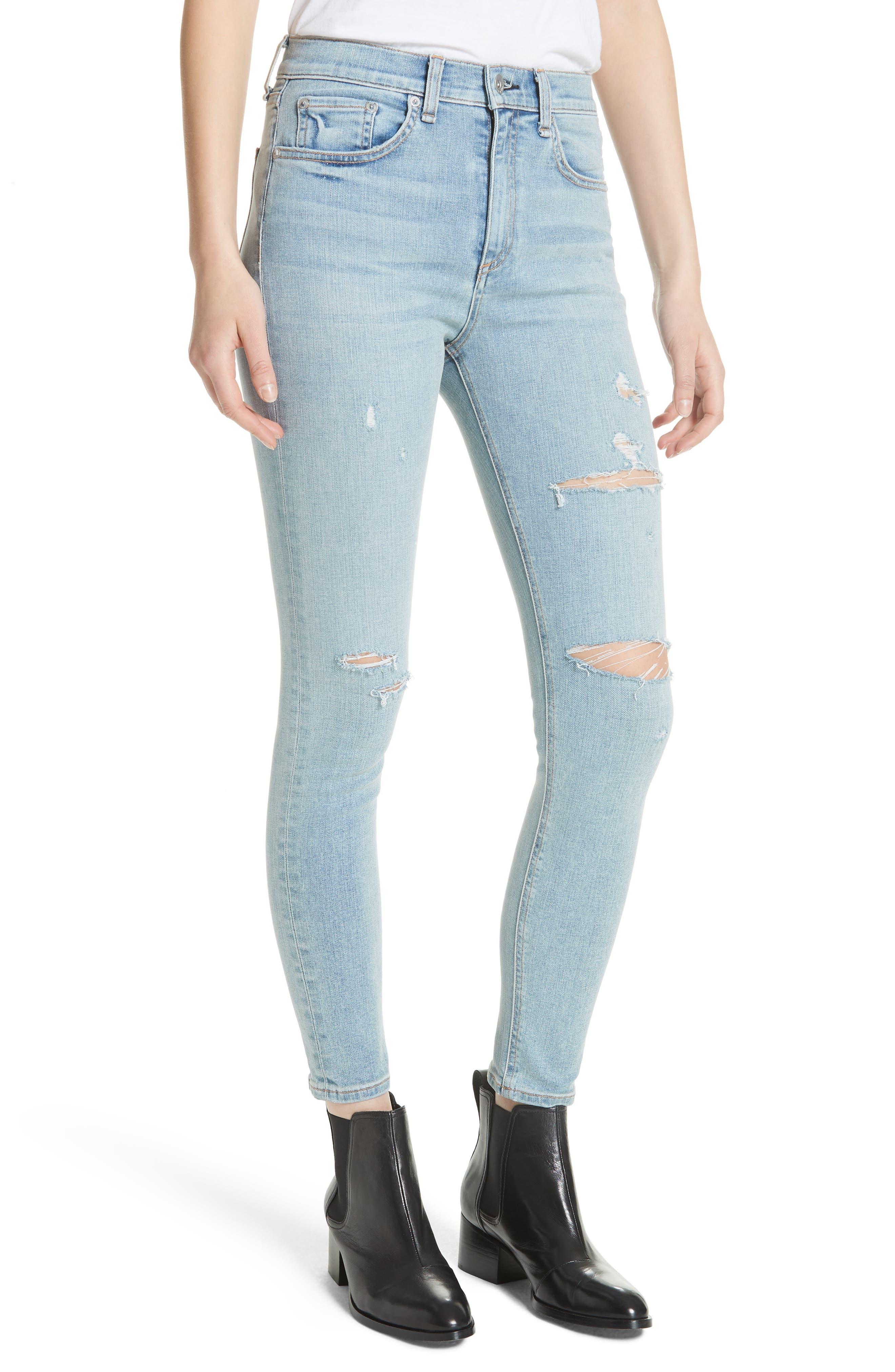 High Waist Ankle Skinny Jeans,                             Alternate thumbnail 4, color,                             Norlet