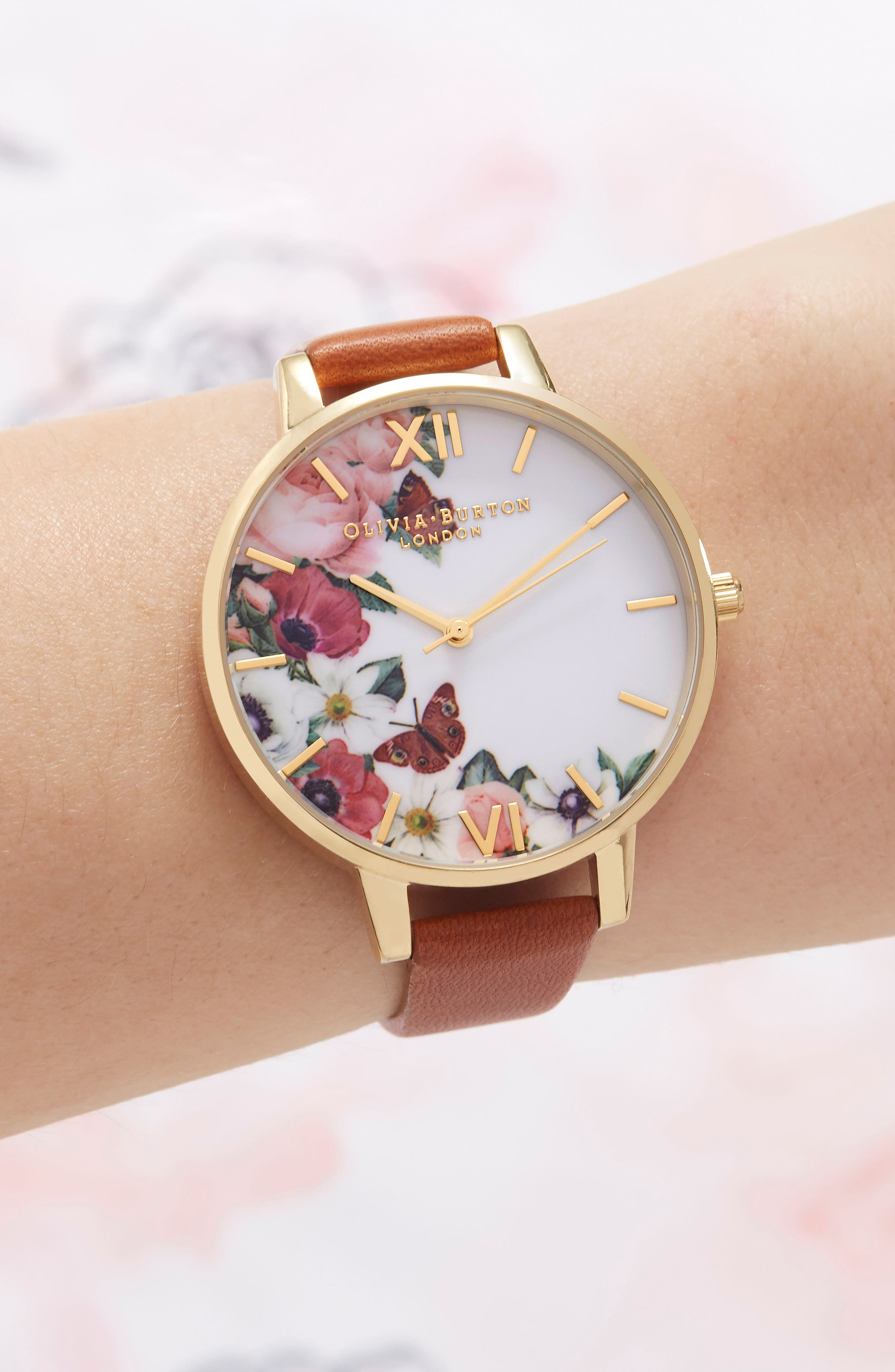 English Garden Leather Strap Watch, 38mm,                             Alternate thumbnail 4, color,                             Tan/ Floral/ Gold