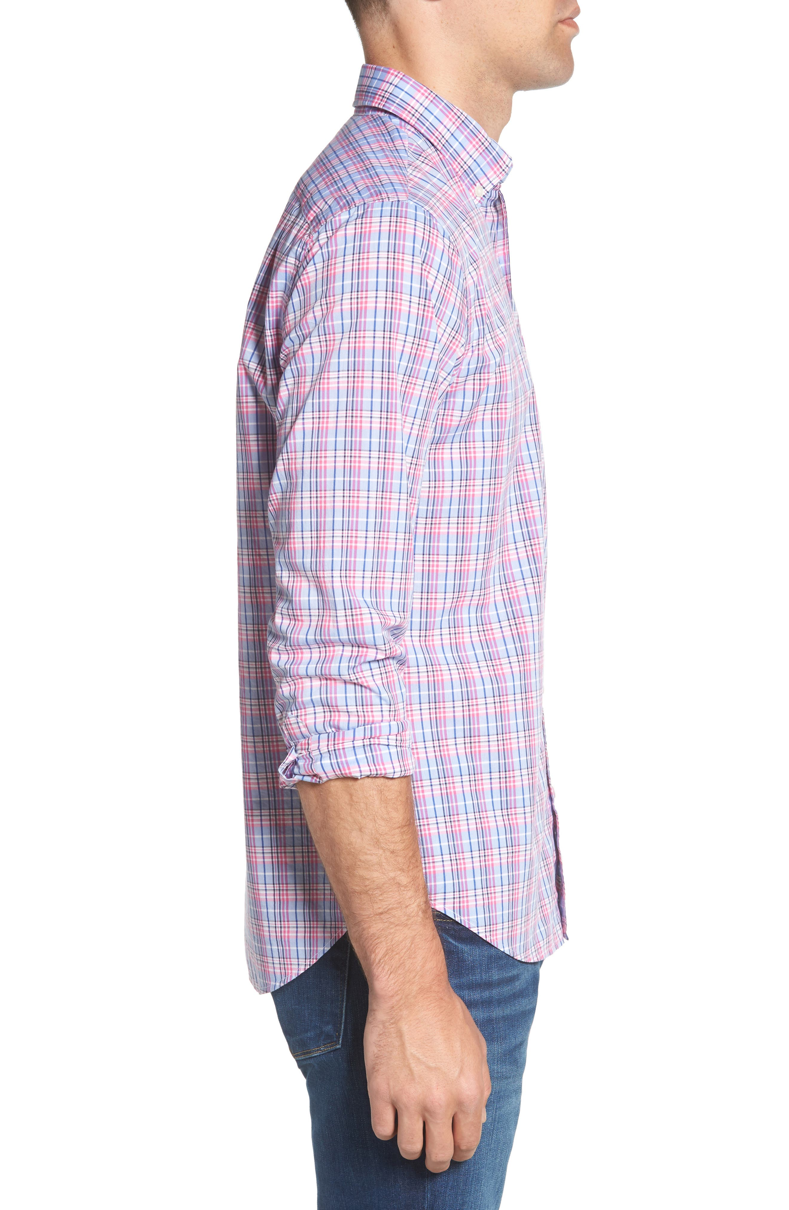 Summerweight Slim Fit Plaid Sport Shirt,                             Alternate thumbnail 4, color,                             Basswood Plaid - Pink Rocket
