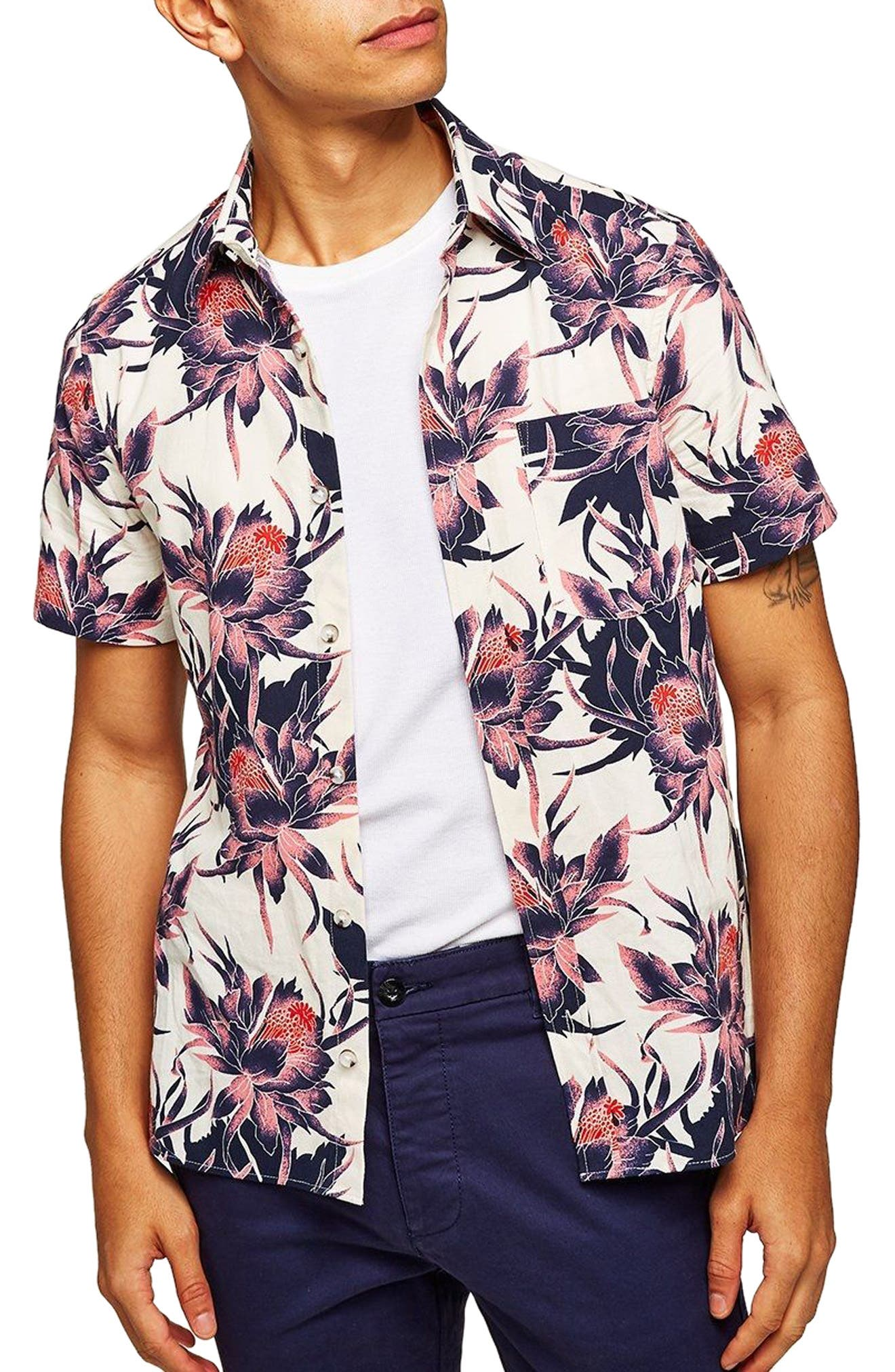 Floral Print Shirt,                             Main thumbnail 1, color,                             White Multi
