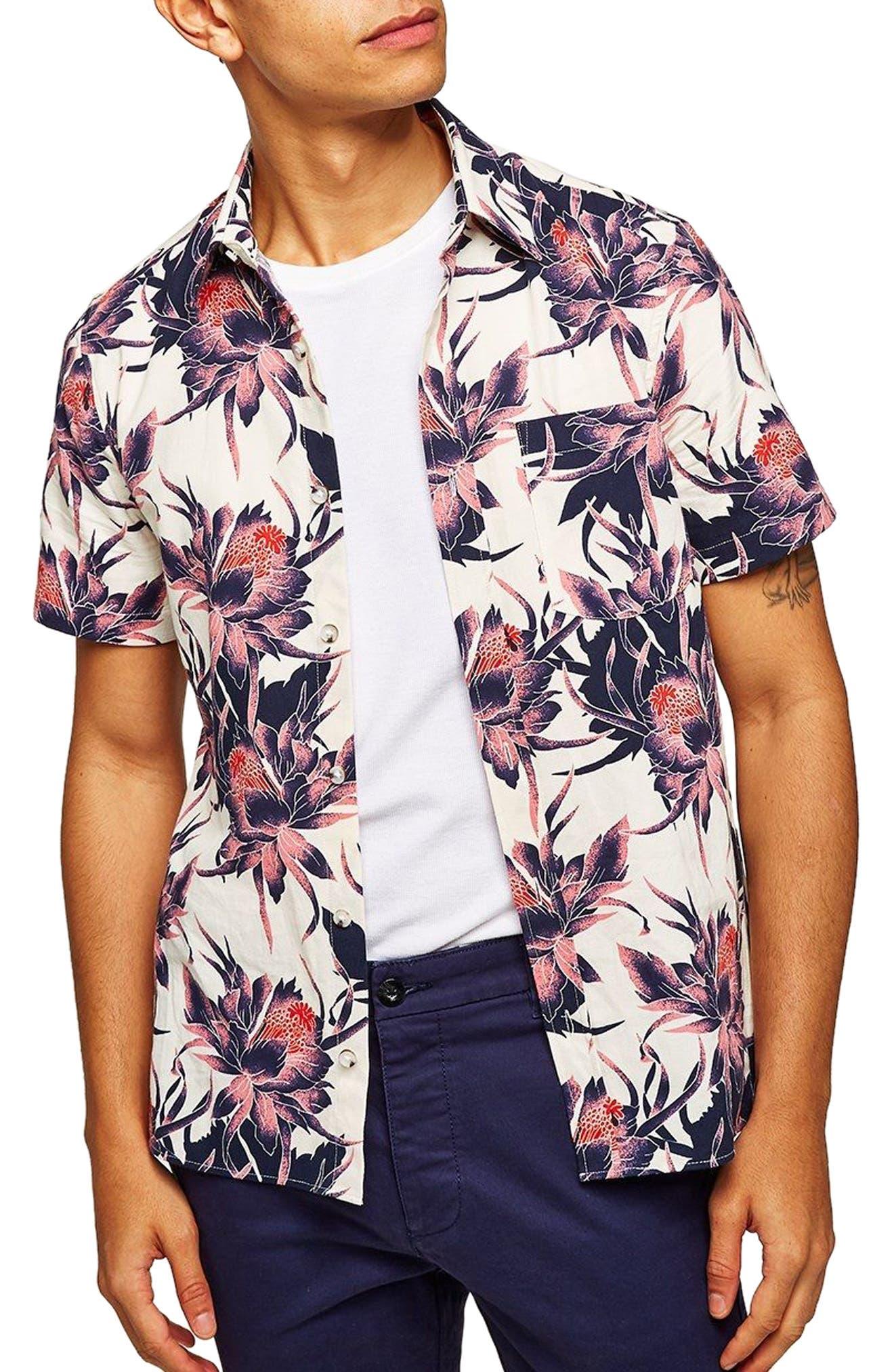 Floral Print Shirt,                         Main,                         color, White Multi