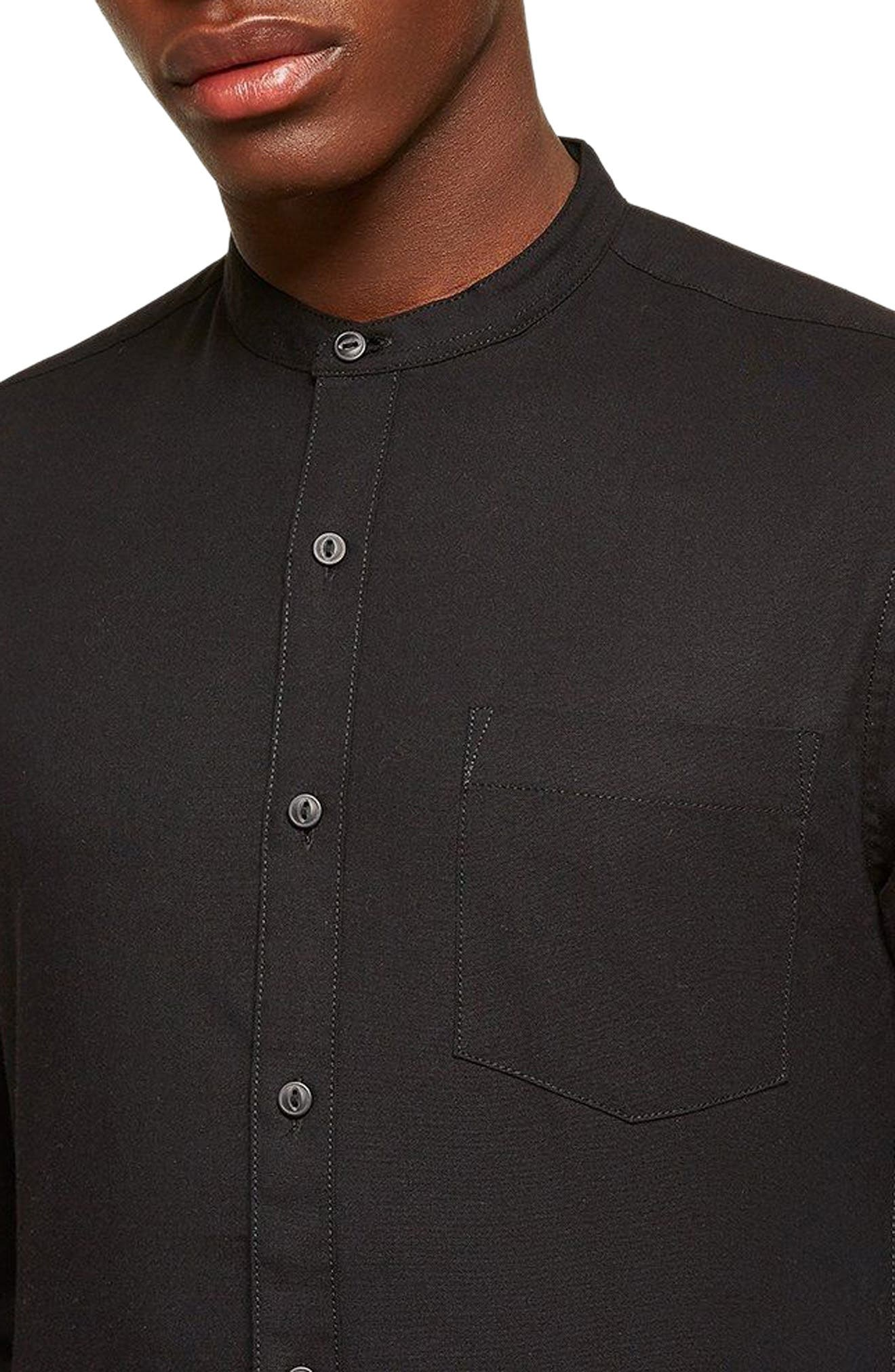 Muscle Fit Stretch Oxford Band Collar Shirt,                             Alternate thumbnail 2, color,                             Black